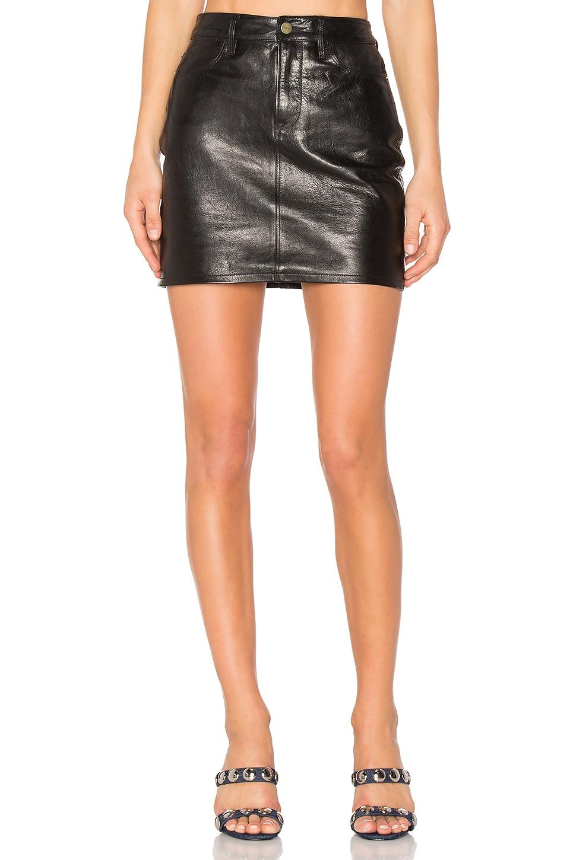 FRAME Denim Mini Skirt in Jet Black