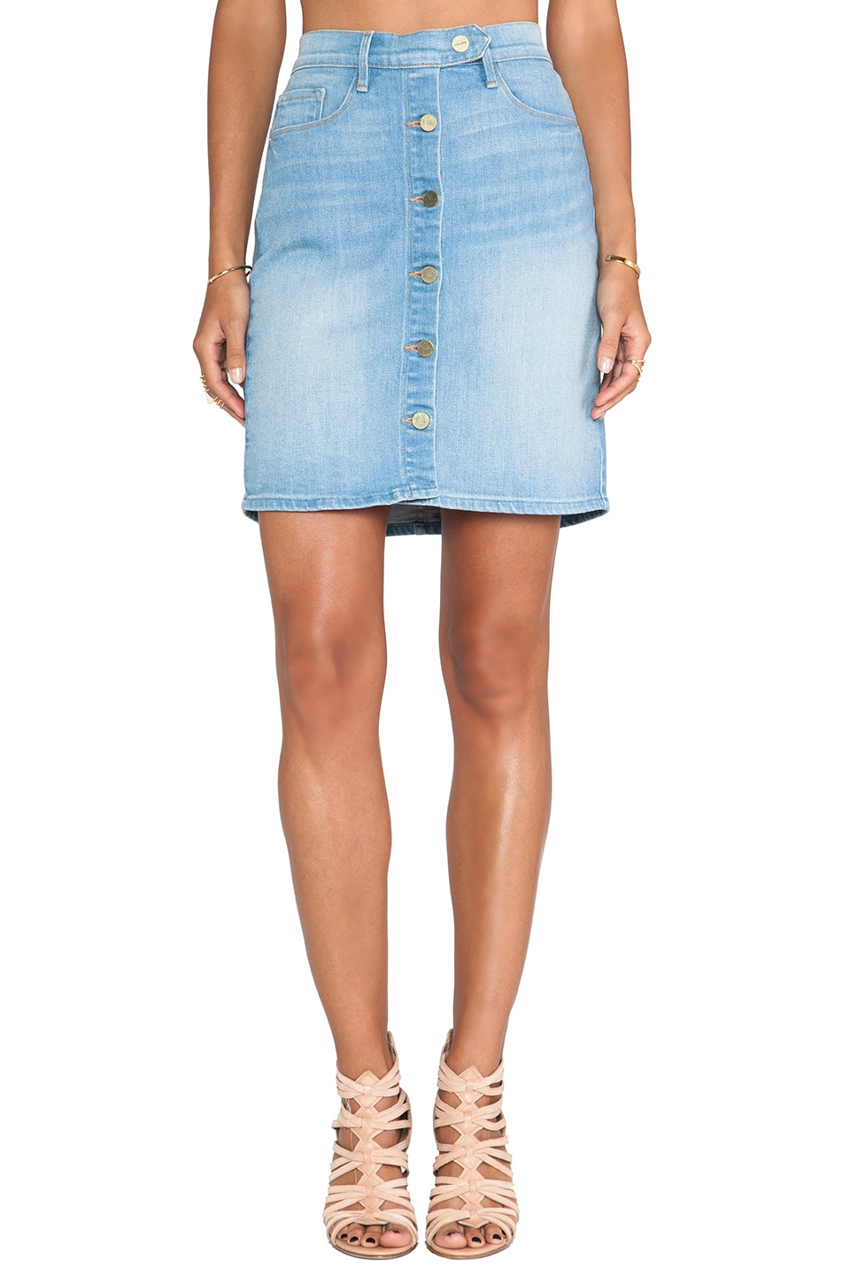 FRAME Denim Snap Front Pencil Skirt in Harbor View