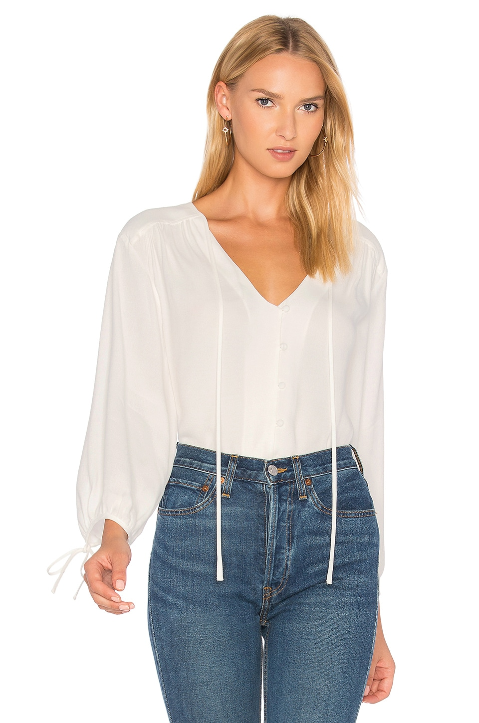 FRAME Denim Lace Up Shirt in Off White