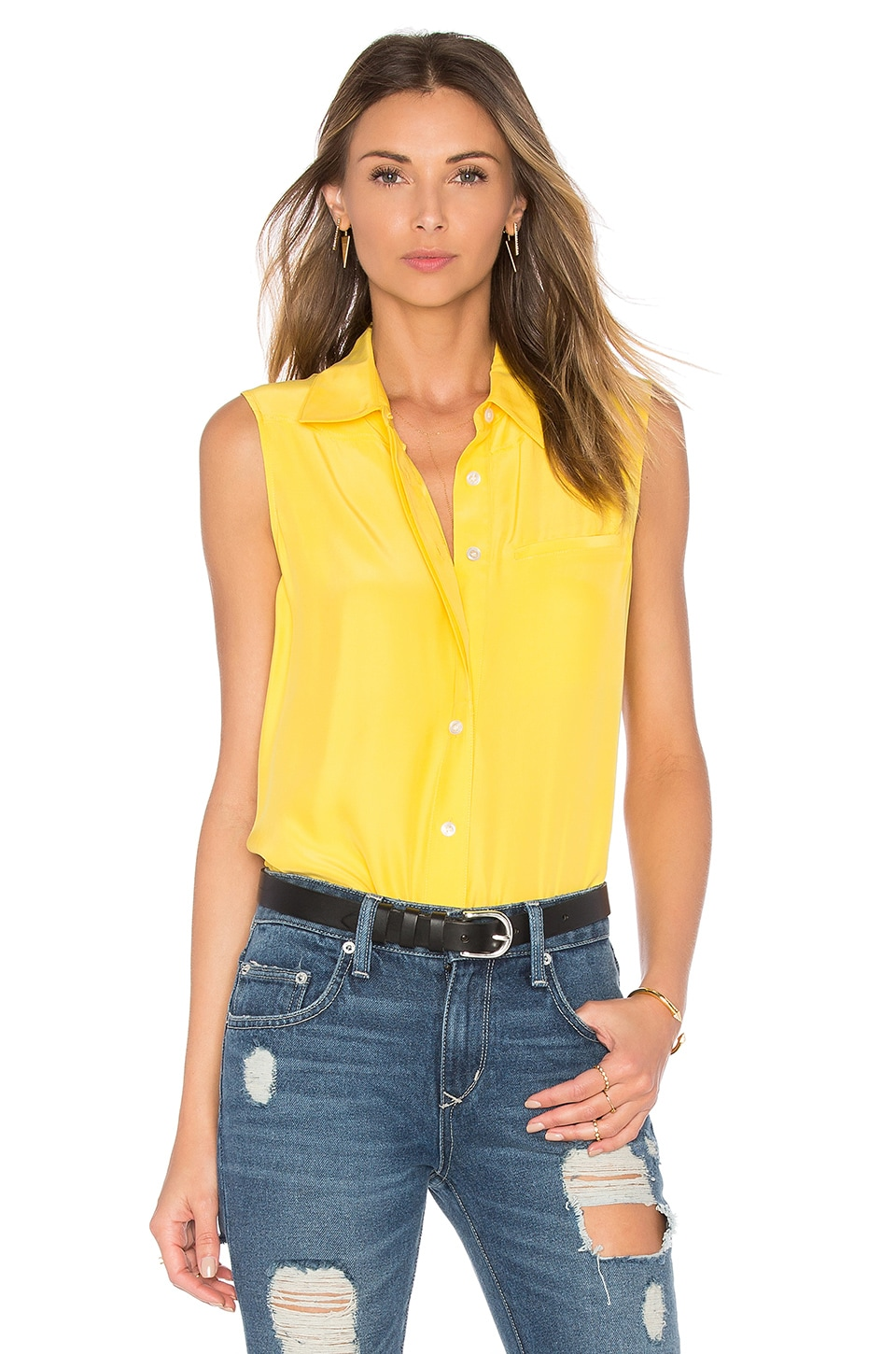 FRAME Denim Le Sleeveless Button Up in Canary Yellow