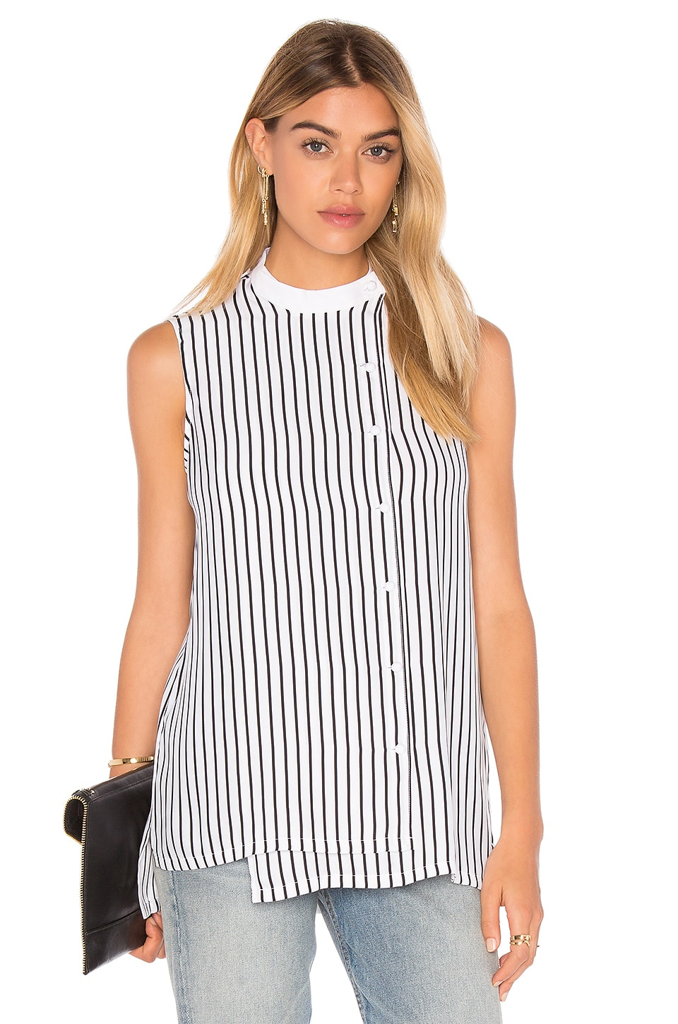 FRAME Denim Le Sleeveless Blouse in Blanc & Noir Classic Stripe