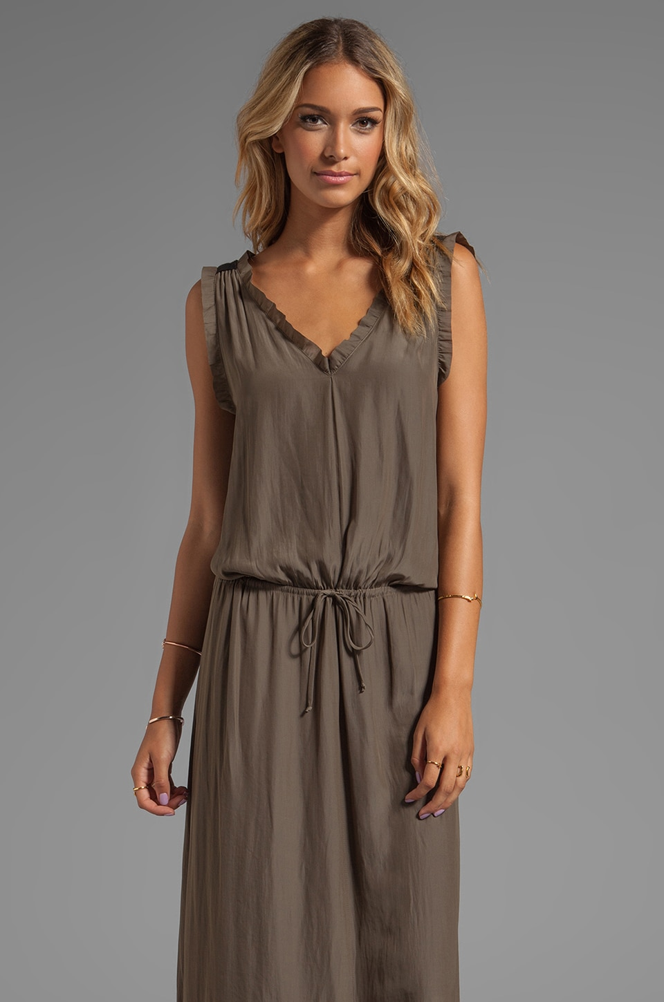 Feel the Piece Drawstring Cupro Dress in Army