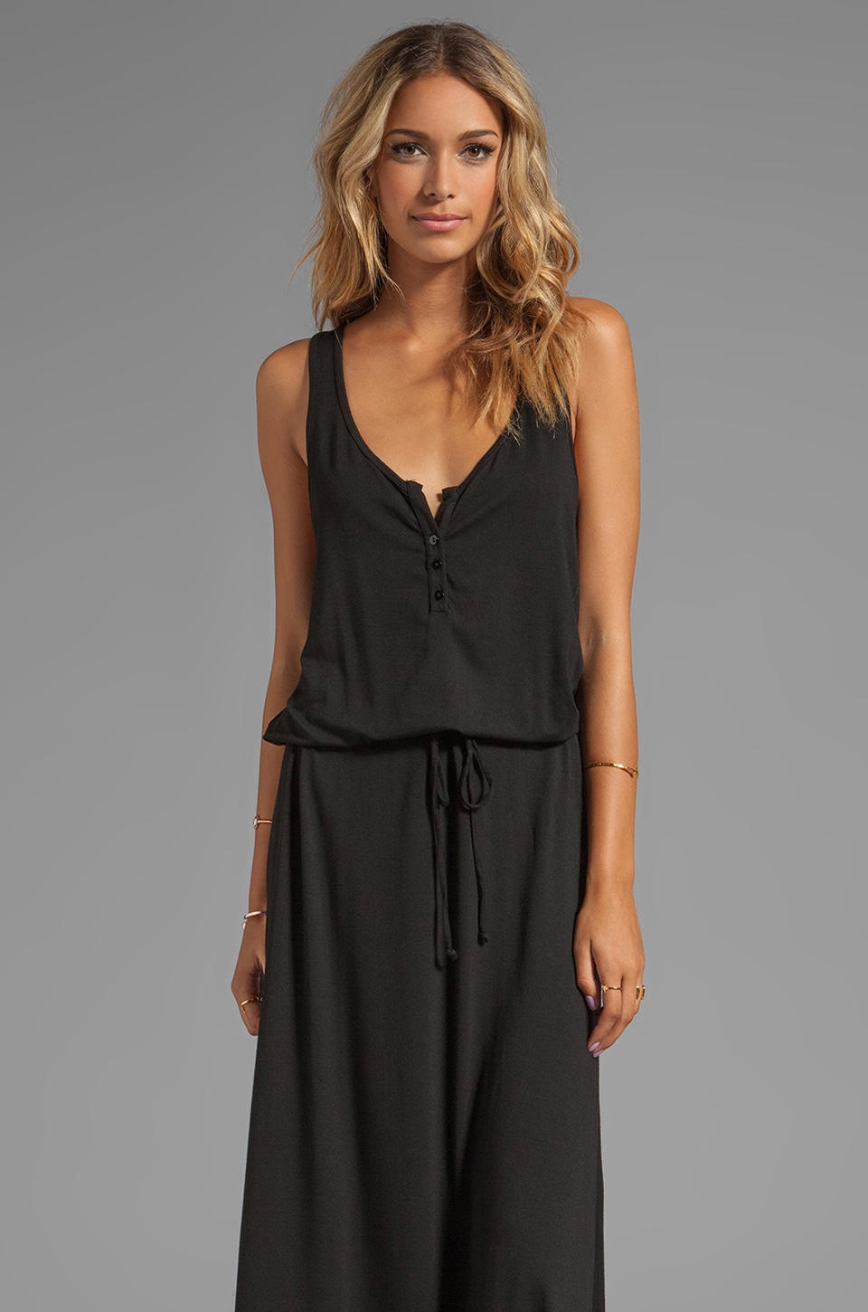 Feel the Piece Henley Maxi Dress in Black