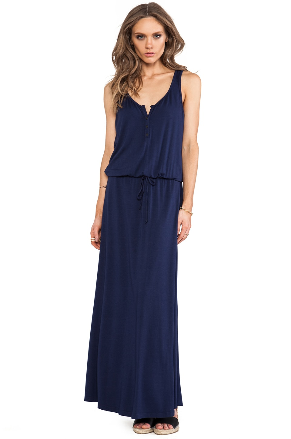 Feel the Piece Henley Maxi Dress in Navy