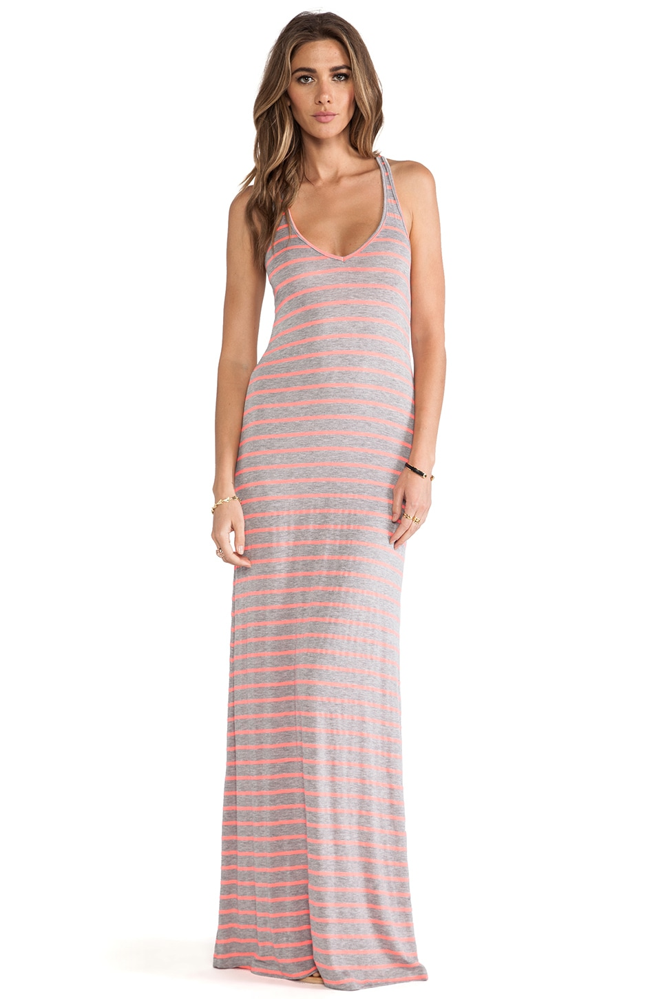 Feel the Piece Striped V Maxi Dress in Coral & Grey