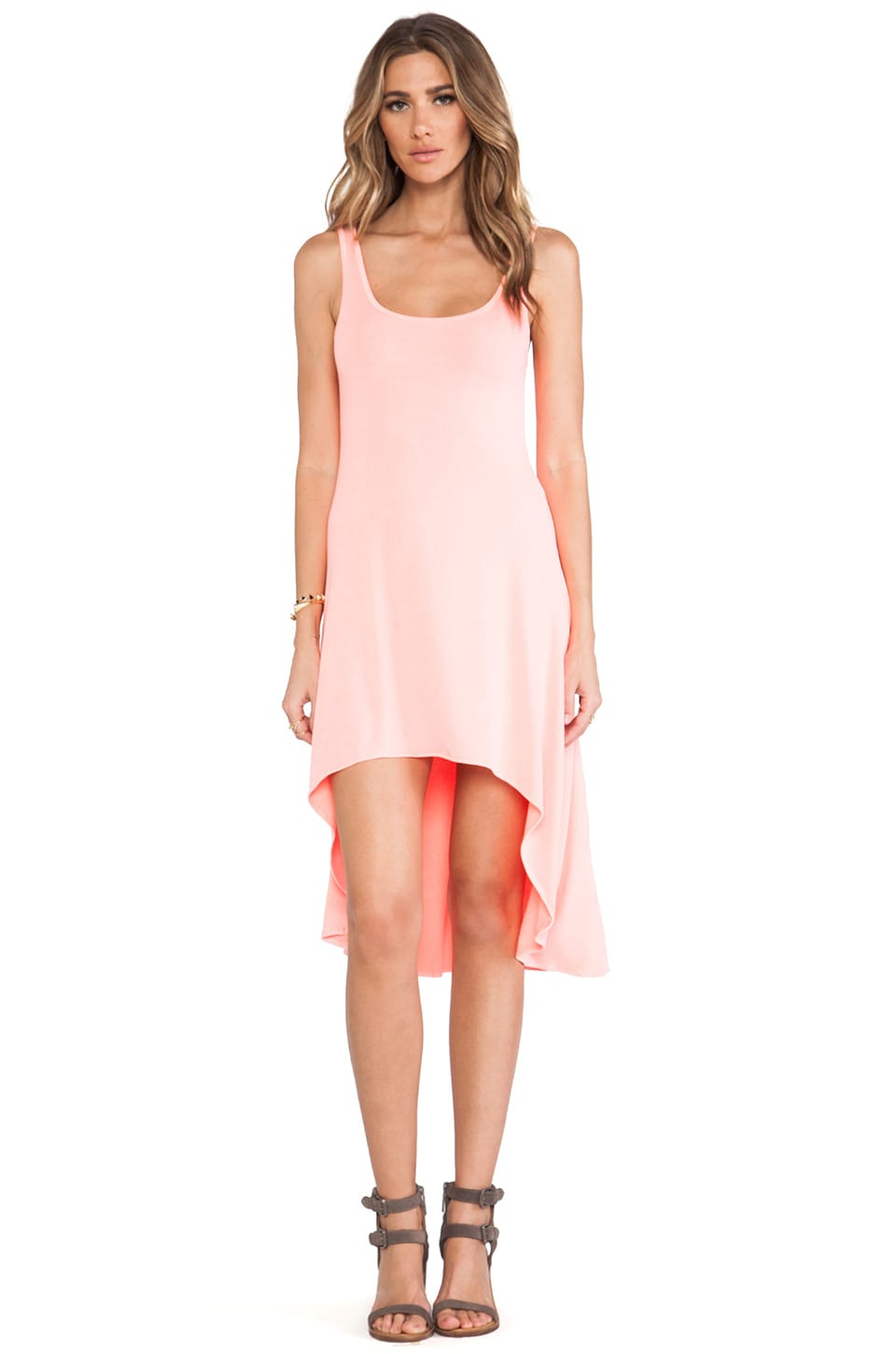 Feel the Piece Hi Low Dress in Neon Coral