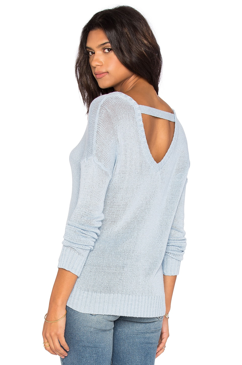 Feel the Piece Caribou Open back Sweater in Skyline