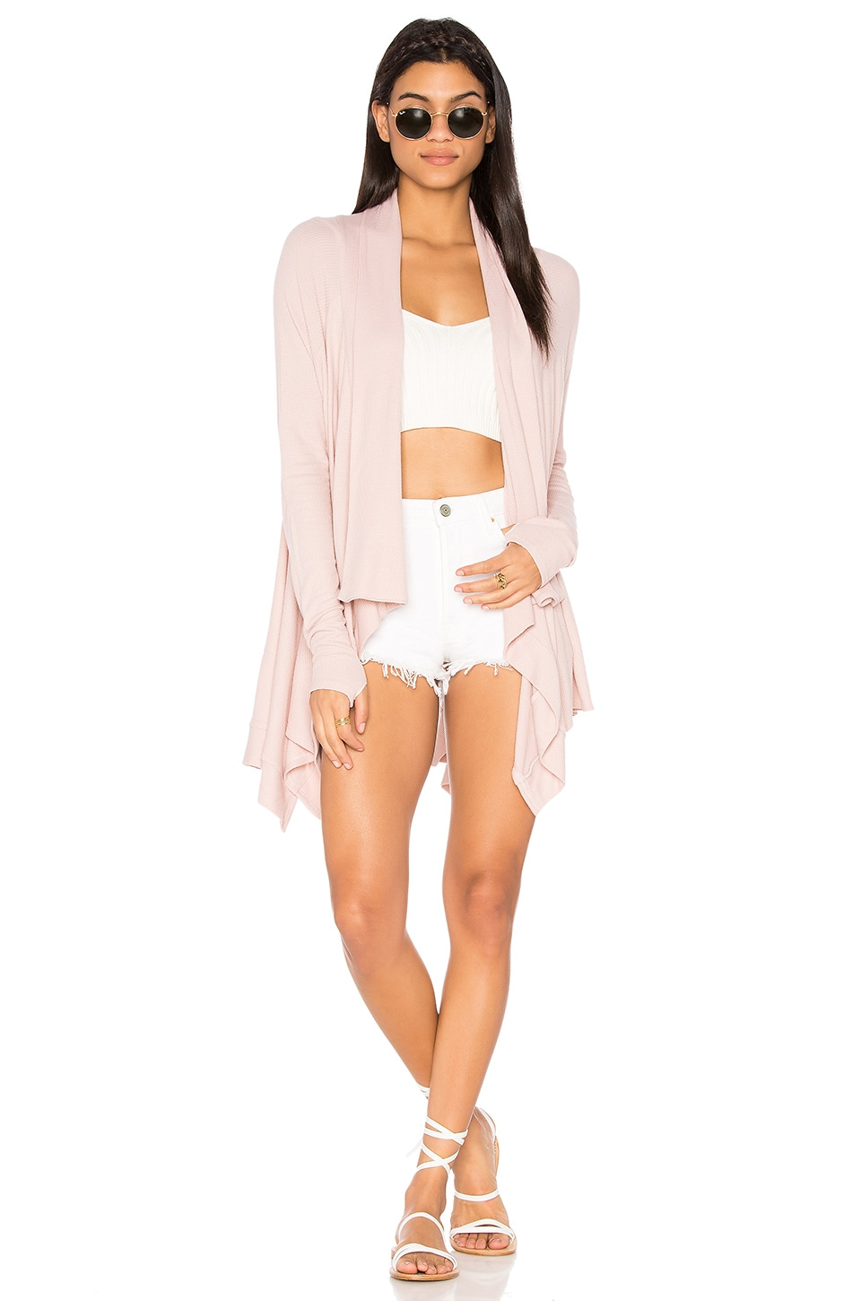 Feel the Piece Witton Drape Cardigan in Shell