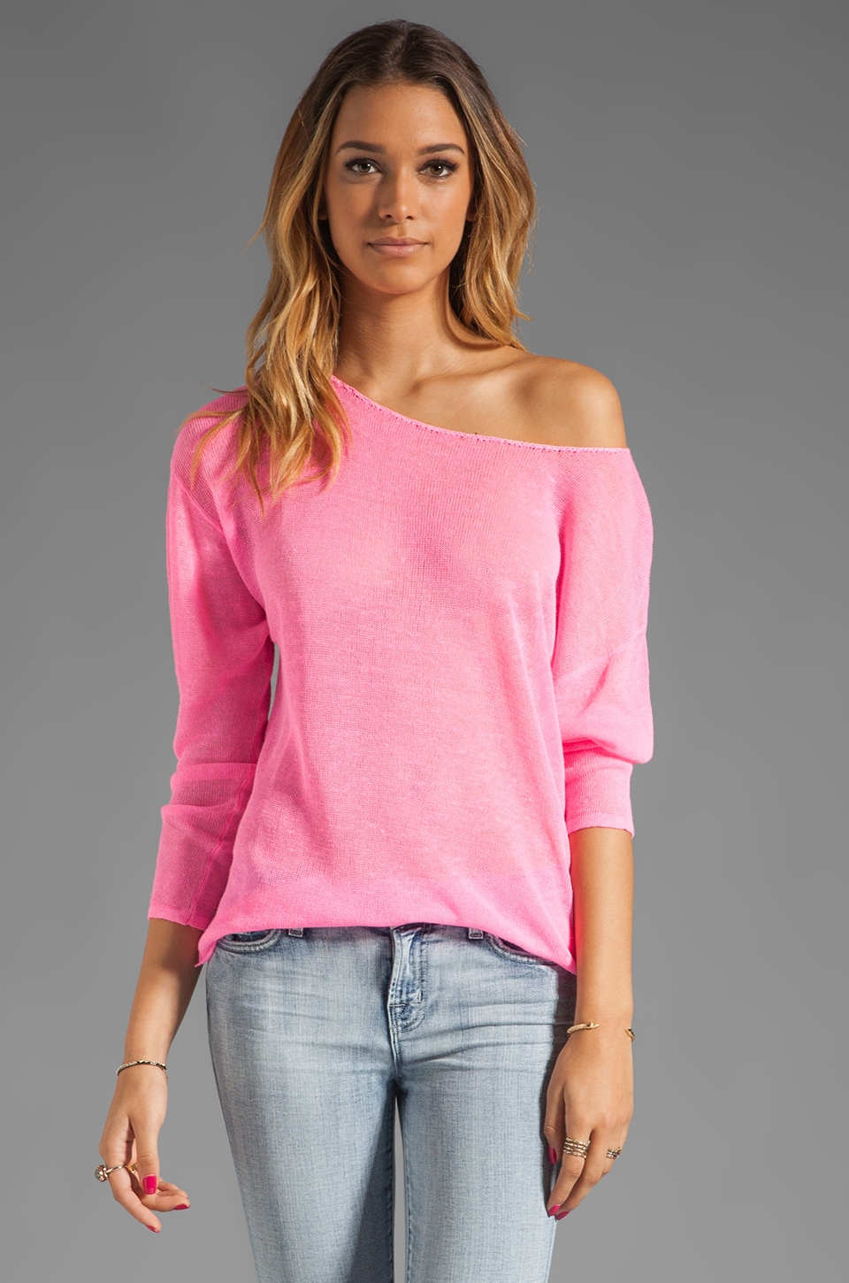 Feel the Piece Boat Neck Sweater in Neon Pink