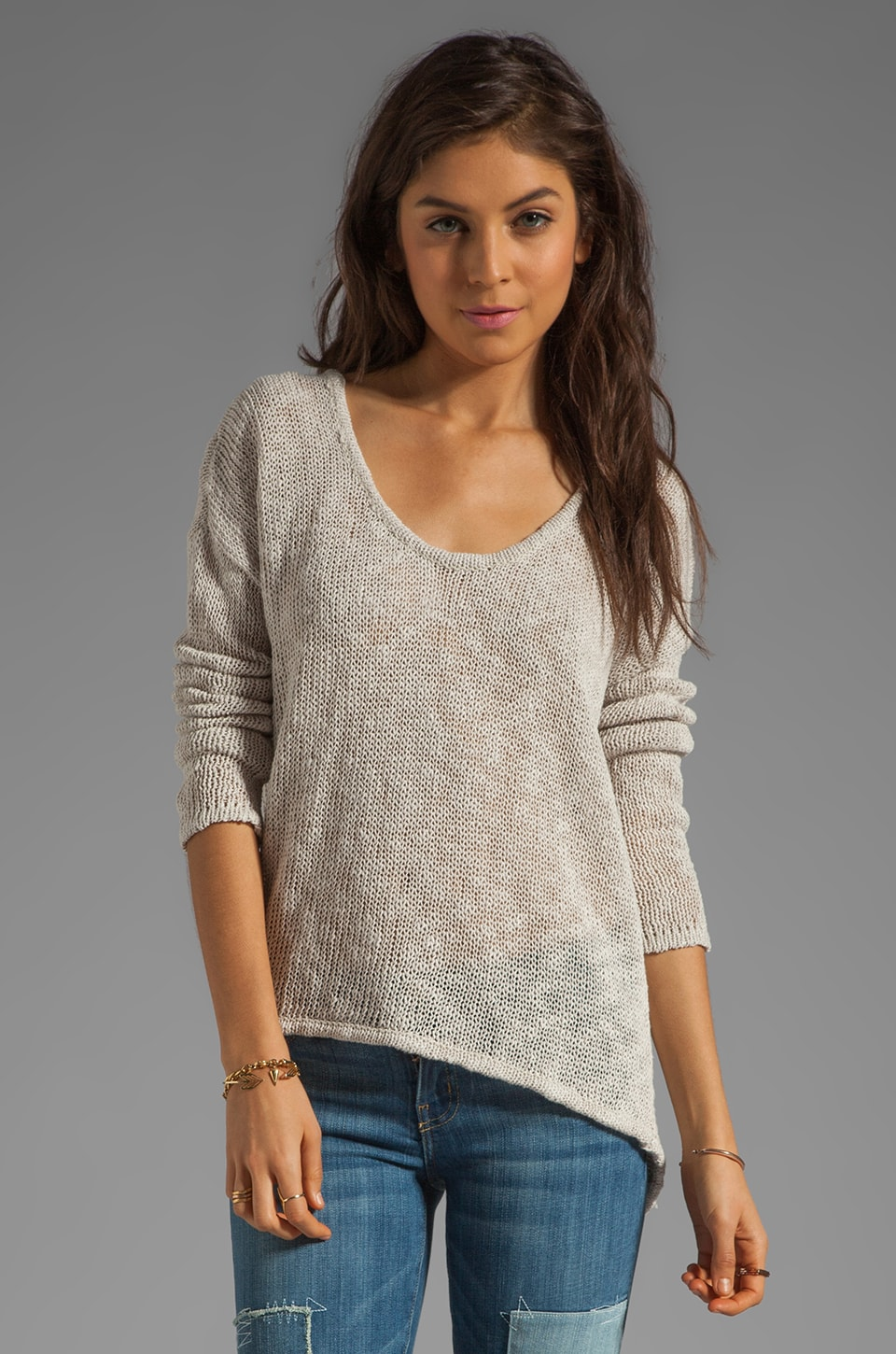 Feel the Piece Long Sleeve Hi Lo Sweater in Sand