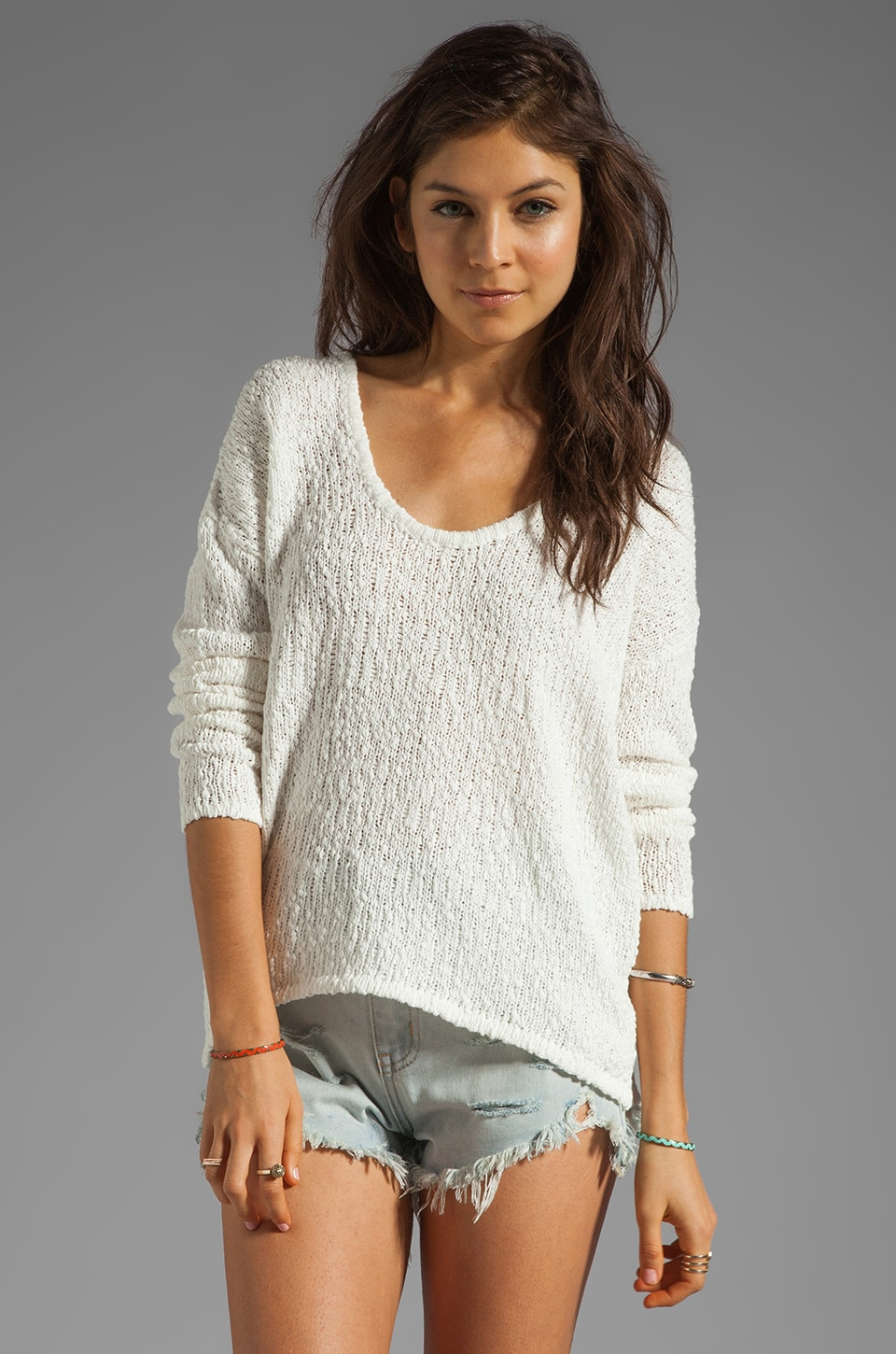 Feel the Piece Long Sleeve Hi Lo Sweater in Optic White