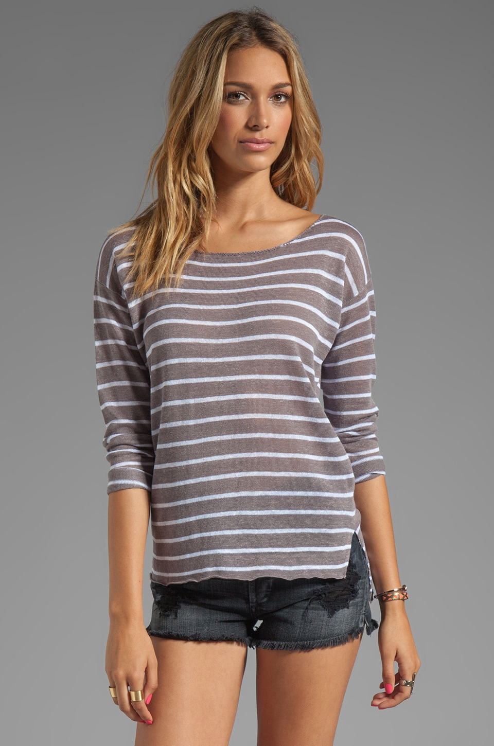 Feel the Piece Striped Boat Neck Sweater in Grey/White