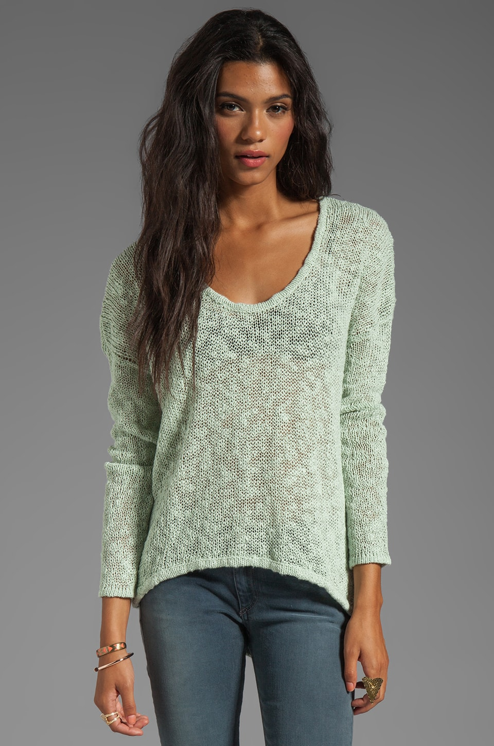 Feel the Piece Hi-Lo Sweater in Mint