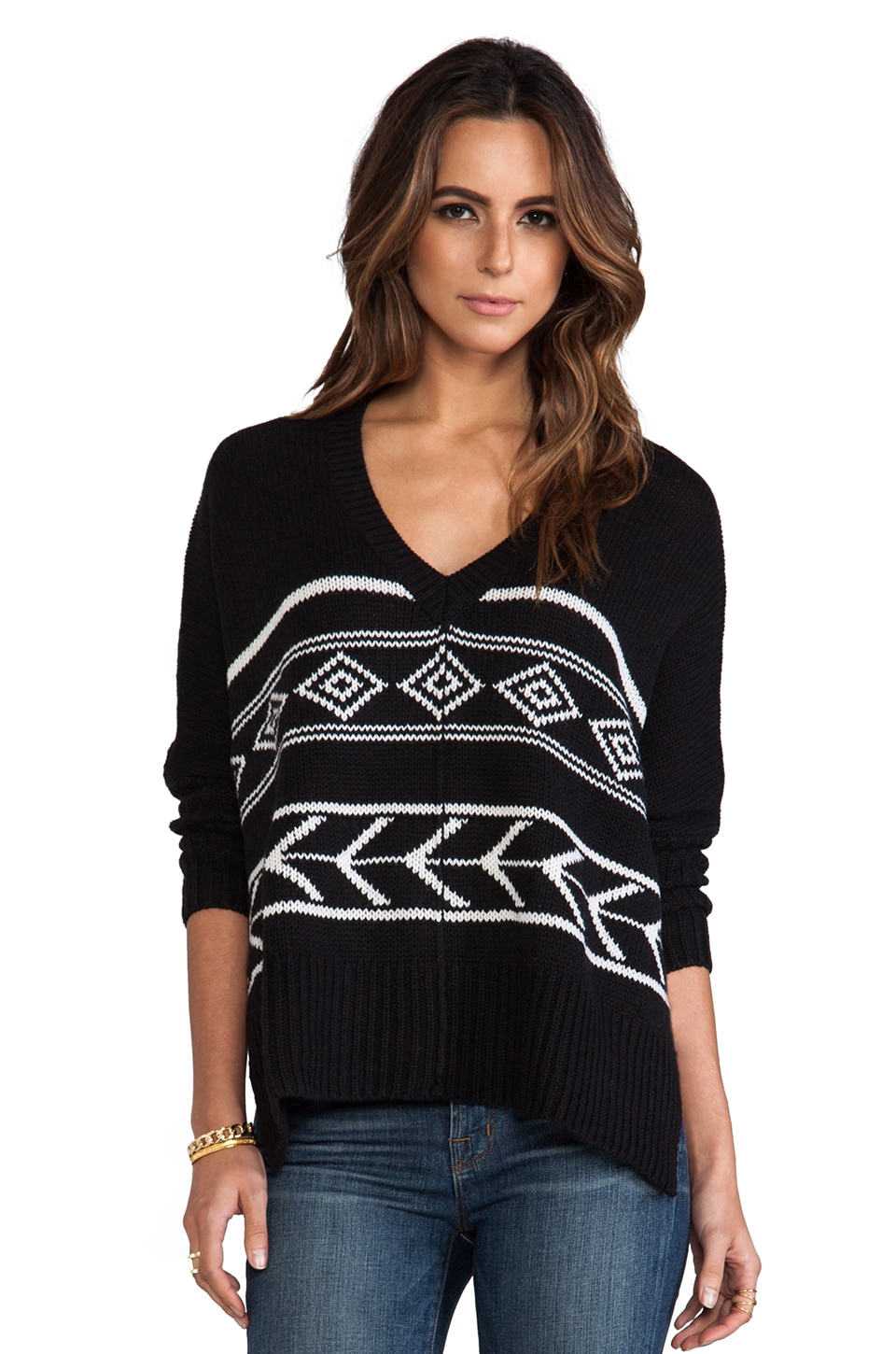 Feel the Piece Intarsia Poncho Sweater in Black/White