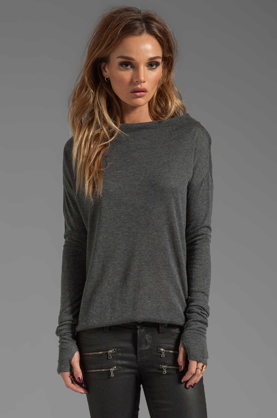 Feel the Piece Funnel Neck Sweater in Charcoal