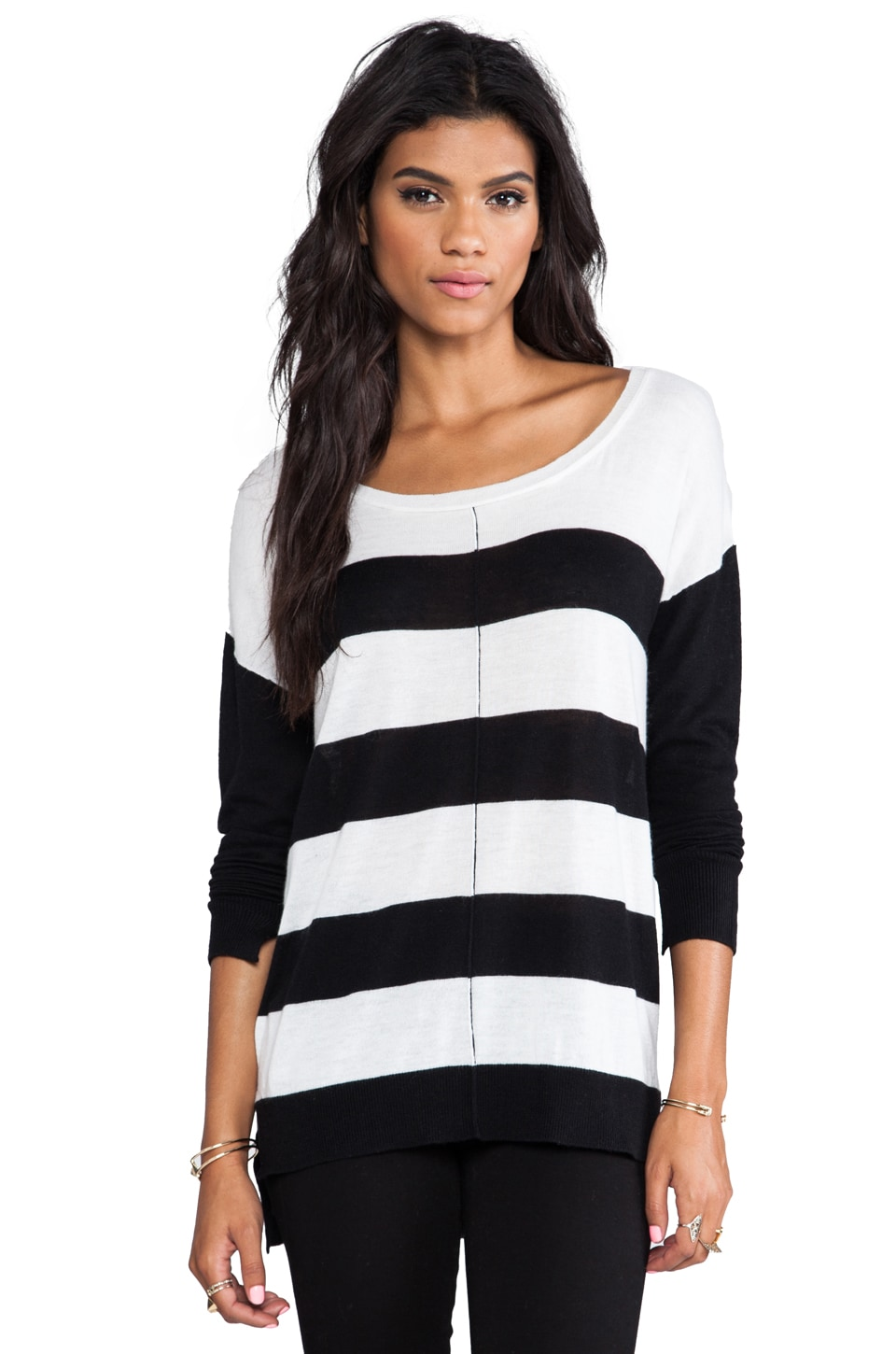 Feel the Piece Bold Stripe Sweater in Black/Winter White