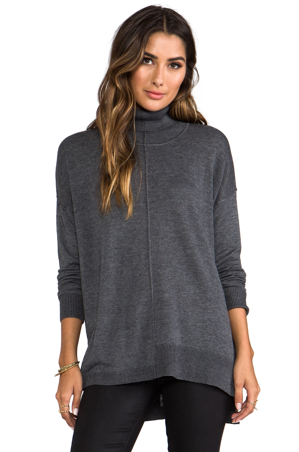 Feel the Piece Turtle Neck Sweater in Charcoal Grey