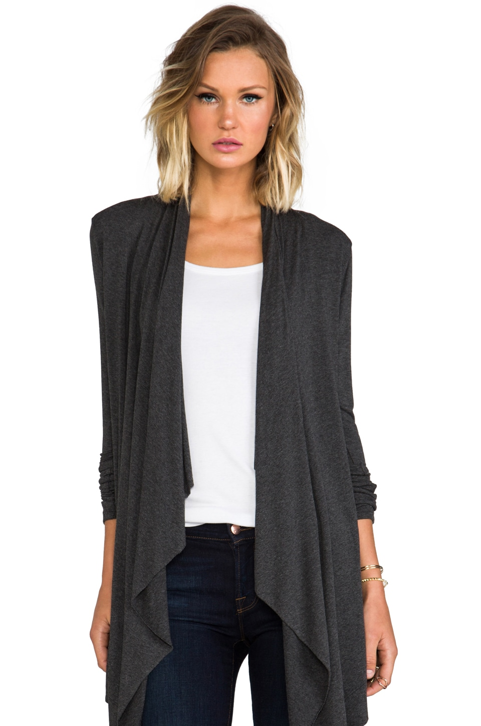 Feel the Piece Blake Sweater Wrap in Charcoal