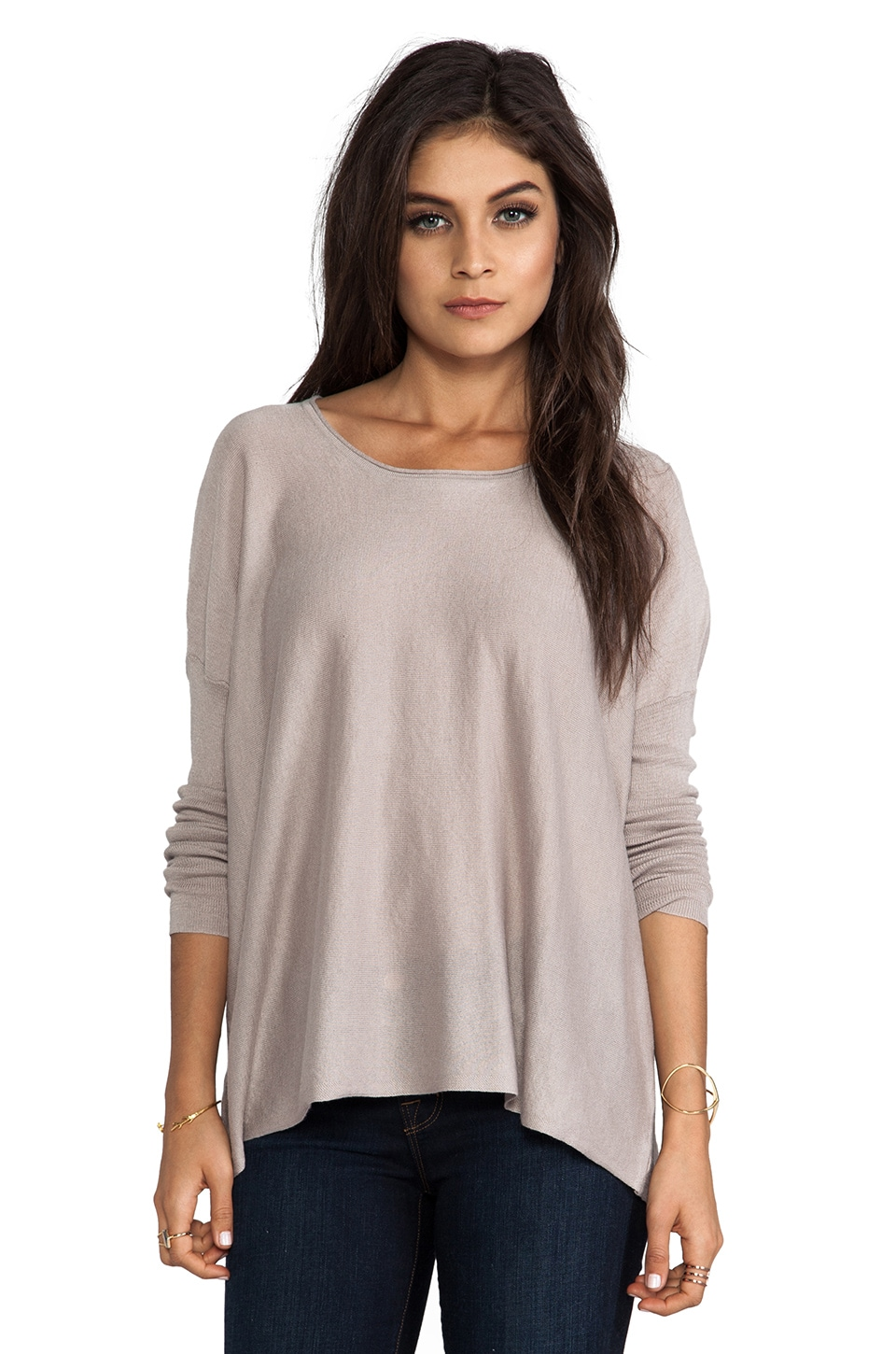 Feel the Piece Striker Dolman Sweater in Pebble