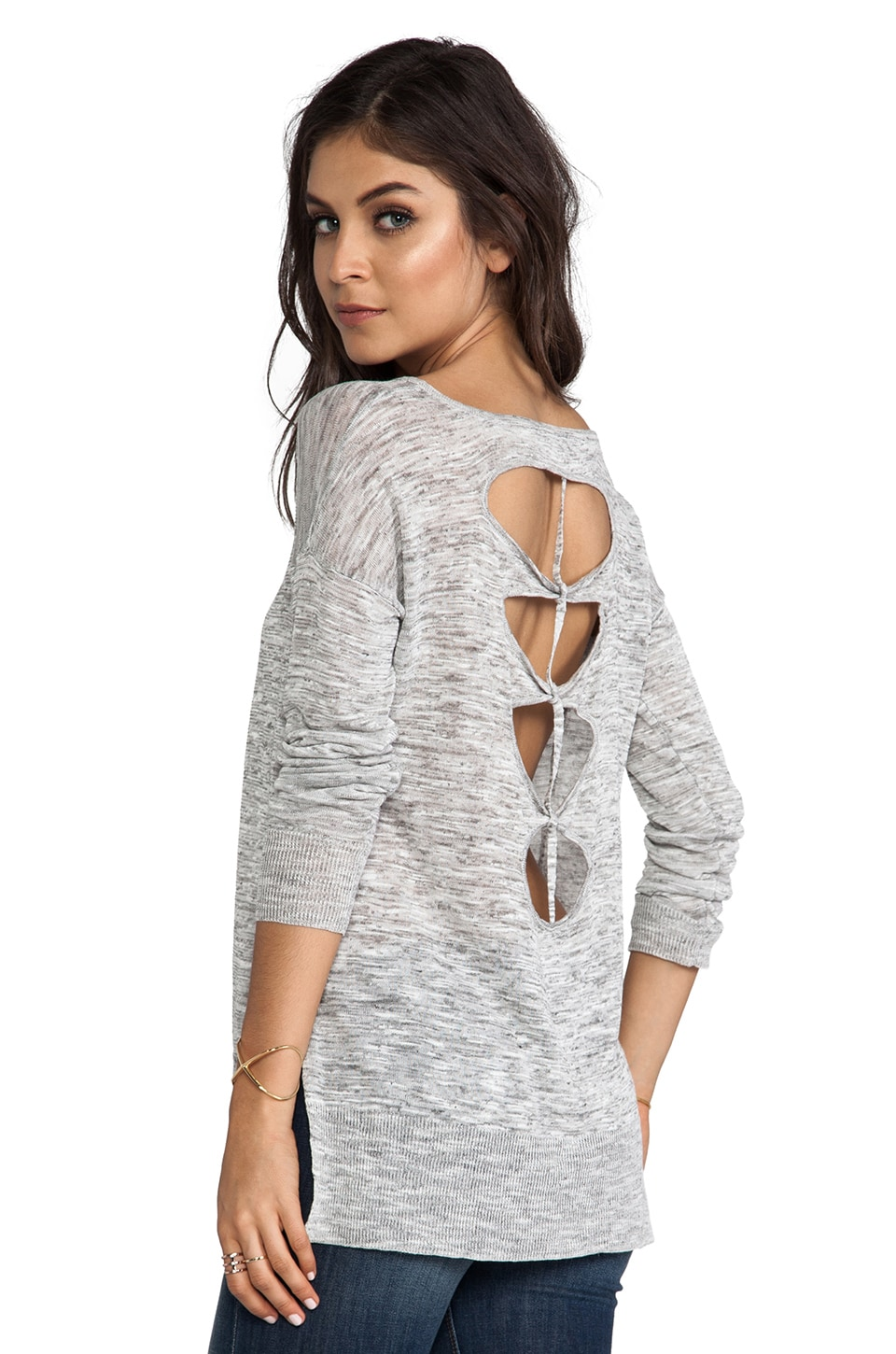Feel the Piece Jude Cut Out Back Sweater in Grey