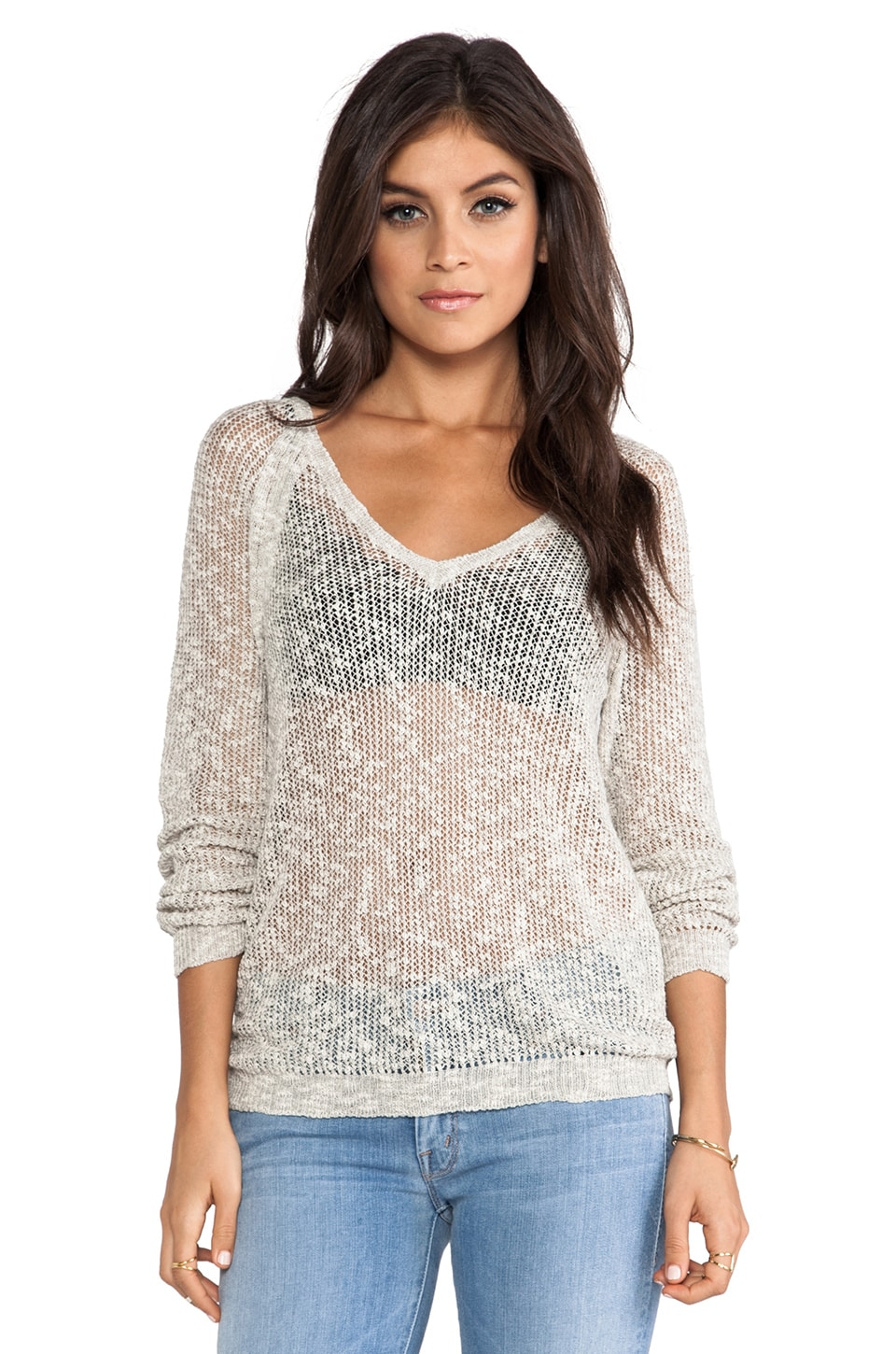 Feel the Piece Willow Pullover Sweater in Natural & Grey