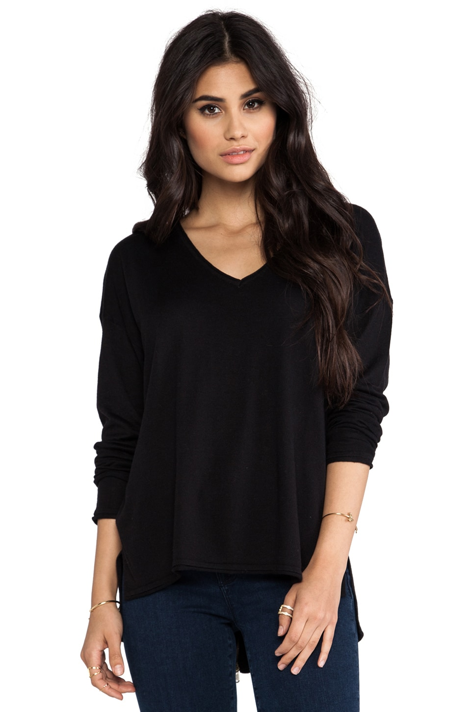 Feel the Piece Jordana Slit Back Sweater in Black