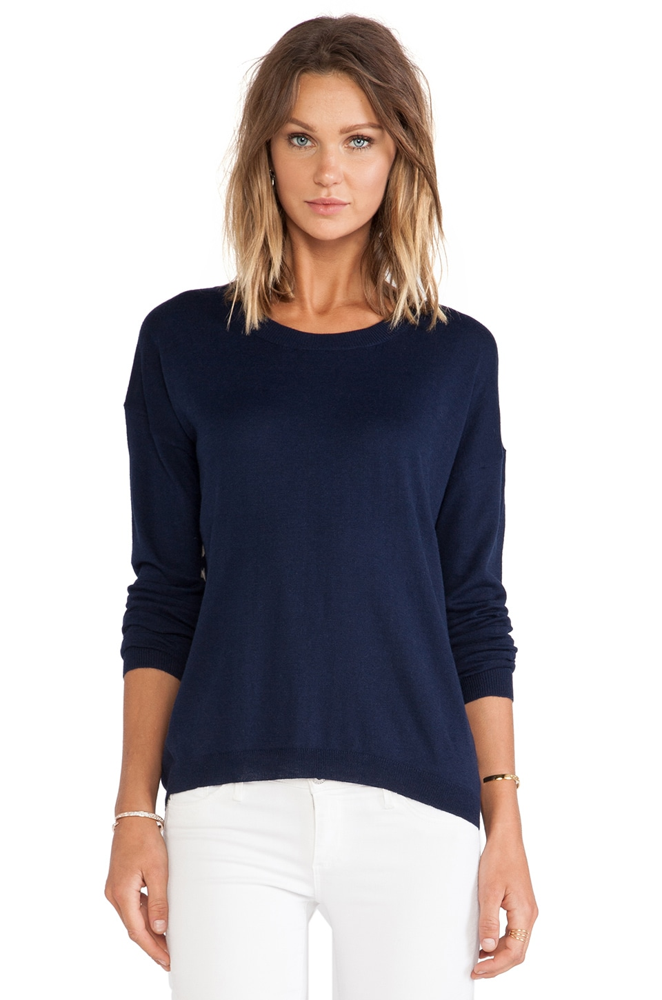 Feel the Piece Leni Sweater in Navy & Toffee