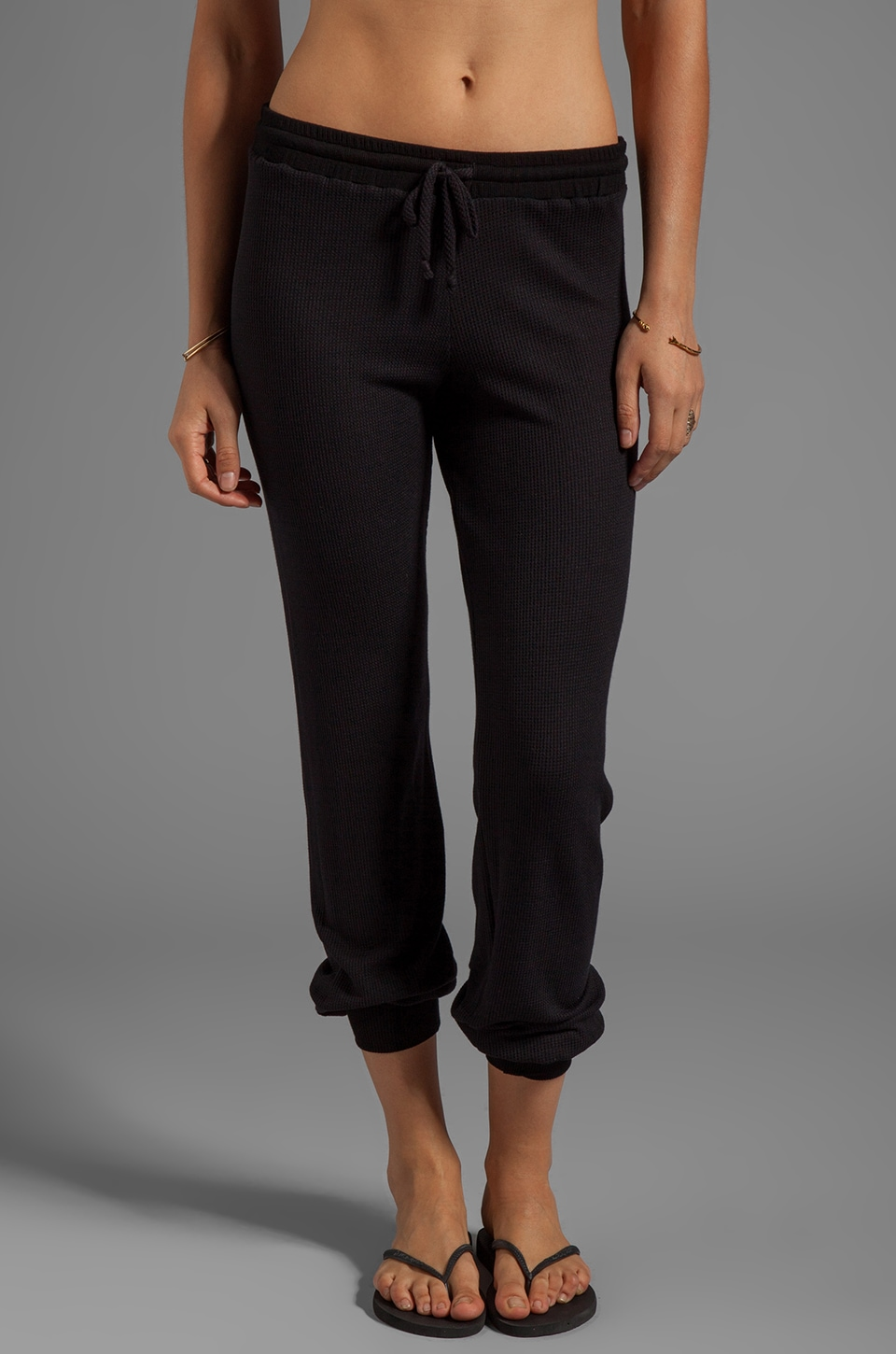 Feel the Piece Thermal Jamie Draw String Pant in Black