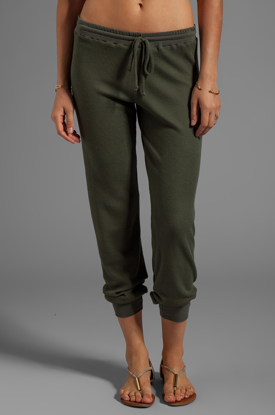 Feel the Piece Thermal Jamie Draw String Pant in Army