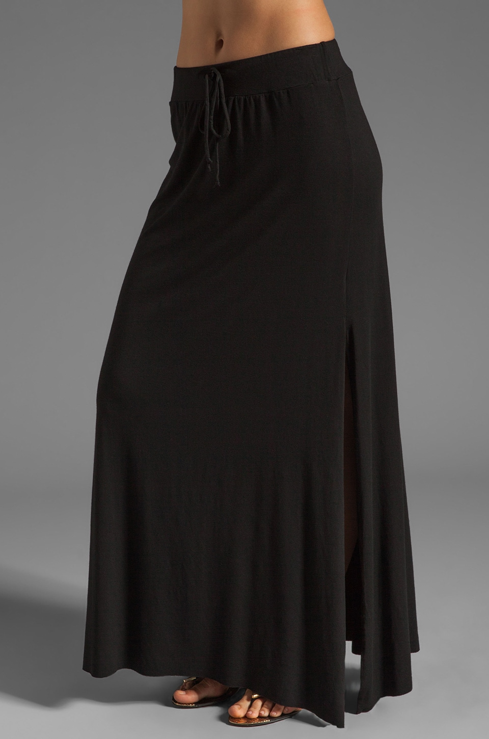Feel the Piece Draw String Maxi Skirt in Black