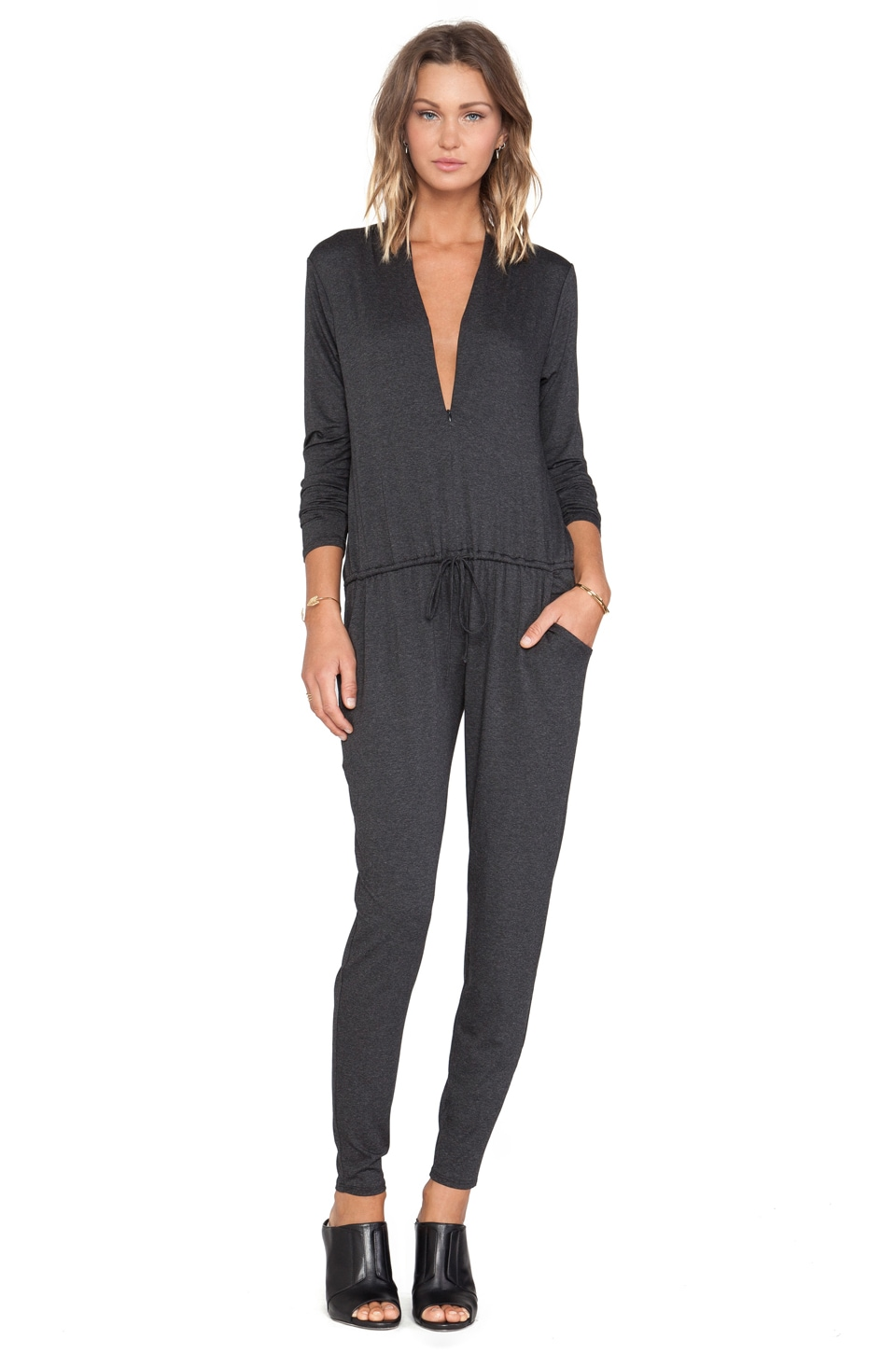 Feel the Piece V-Neck Jumpsuit in Charcoal