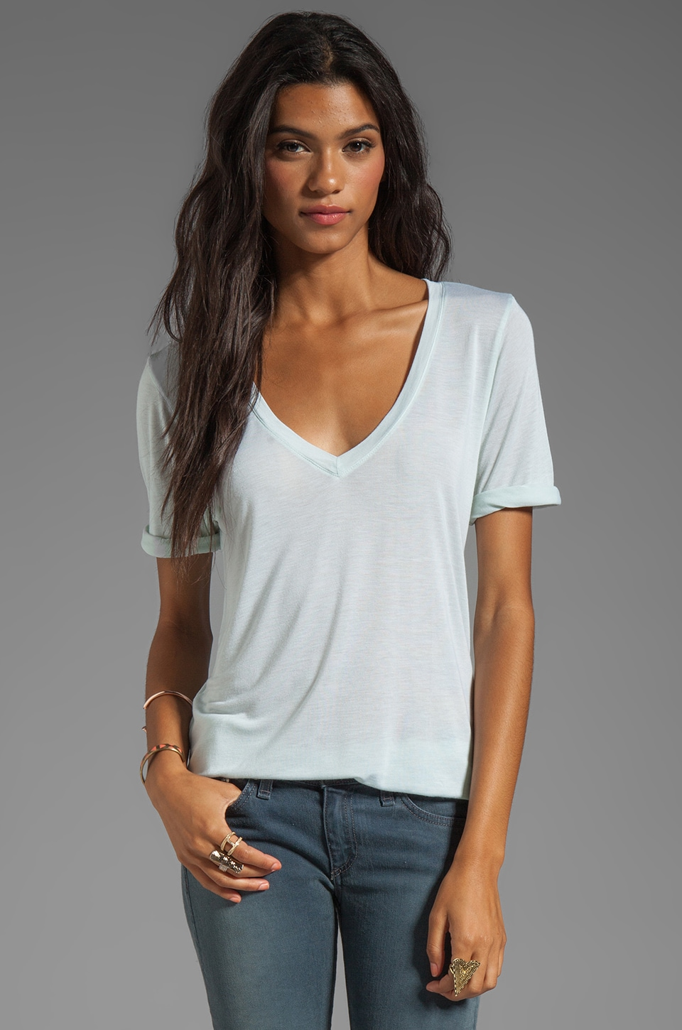 Feel the Piece Best Friend V-Neck Tee in Mint