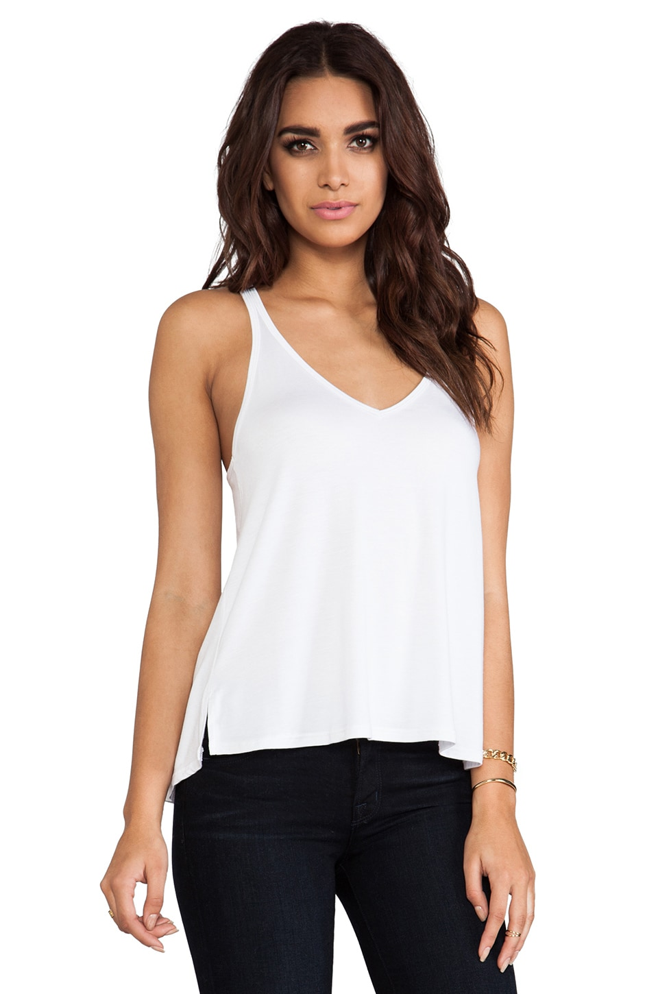 Feel the Piece Loosy V Layering Tank in White