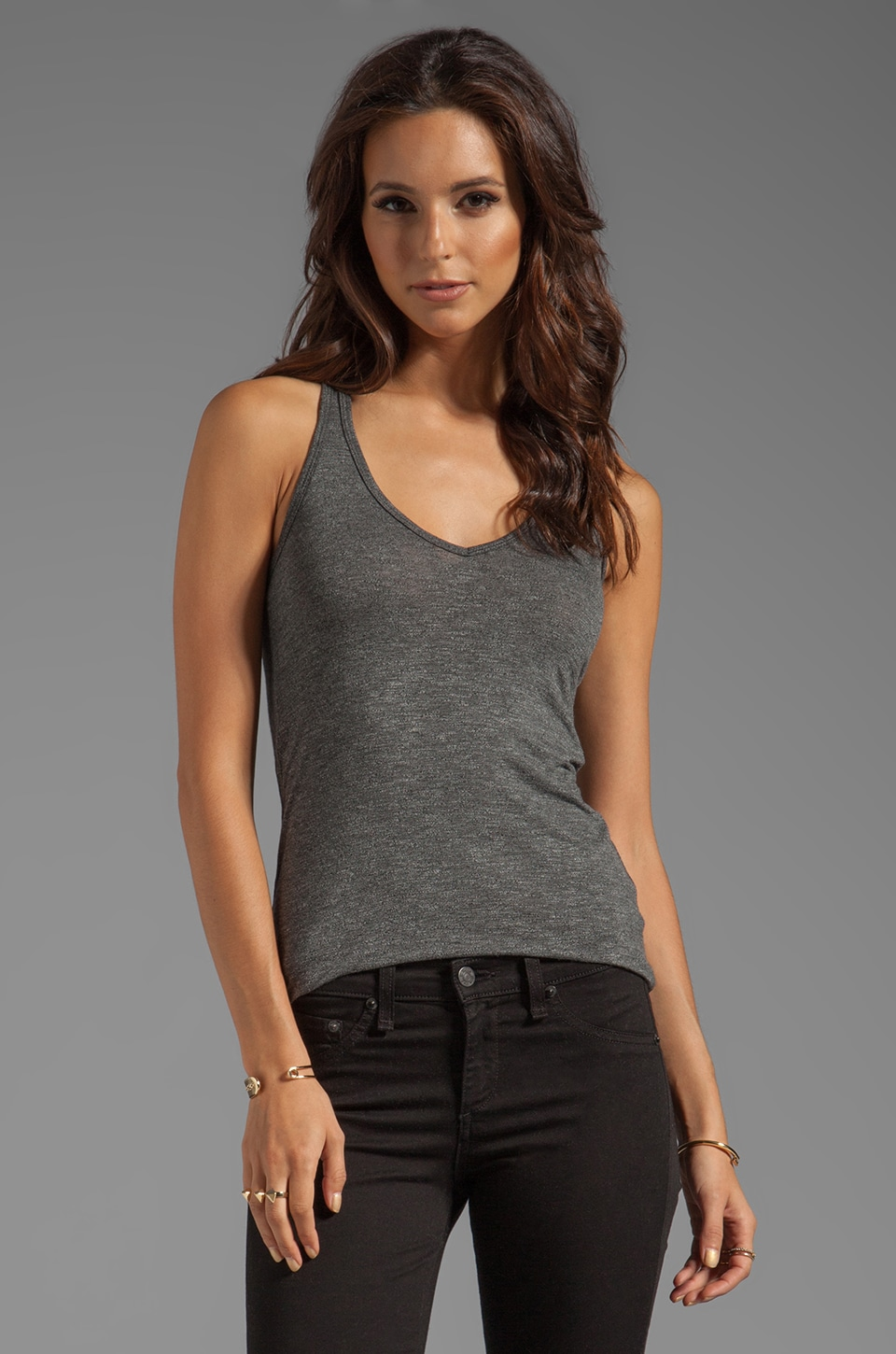 Feel the Piece Terrific Racer V-Neck Tank in Dark Platinum
