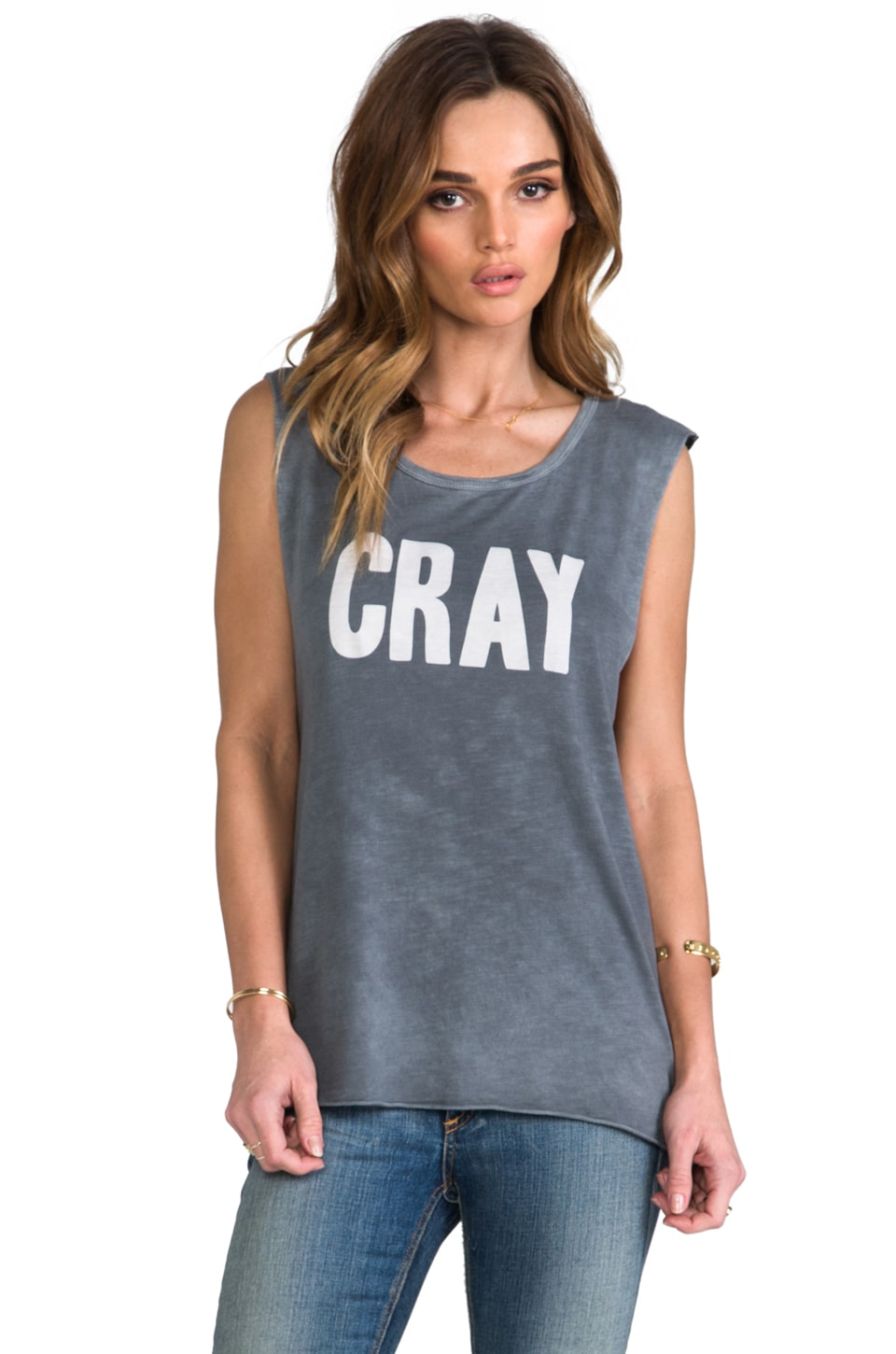 Feel the Piece x Tyler Jacobs Washed Cray Muscle Tank in Steel