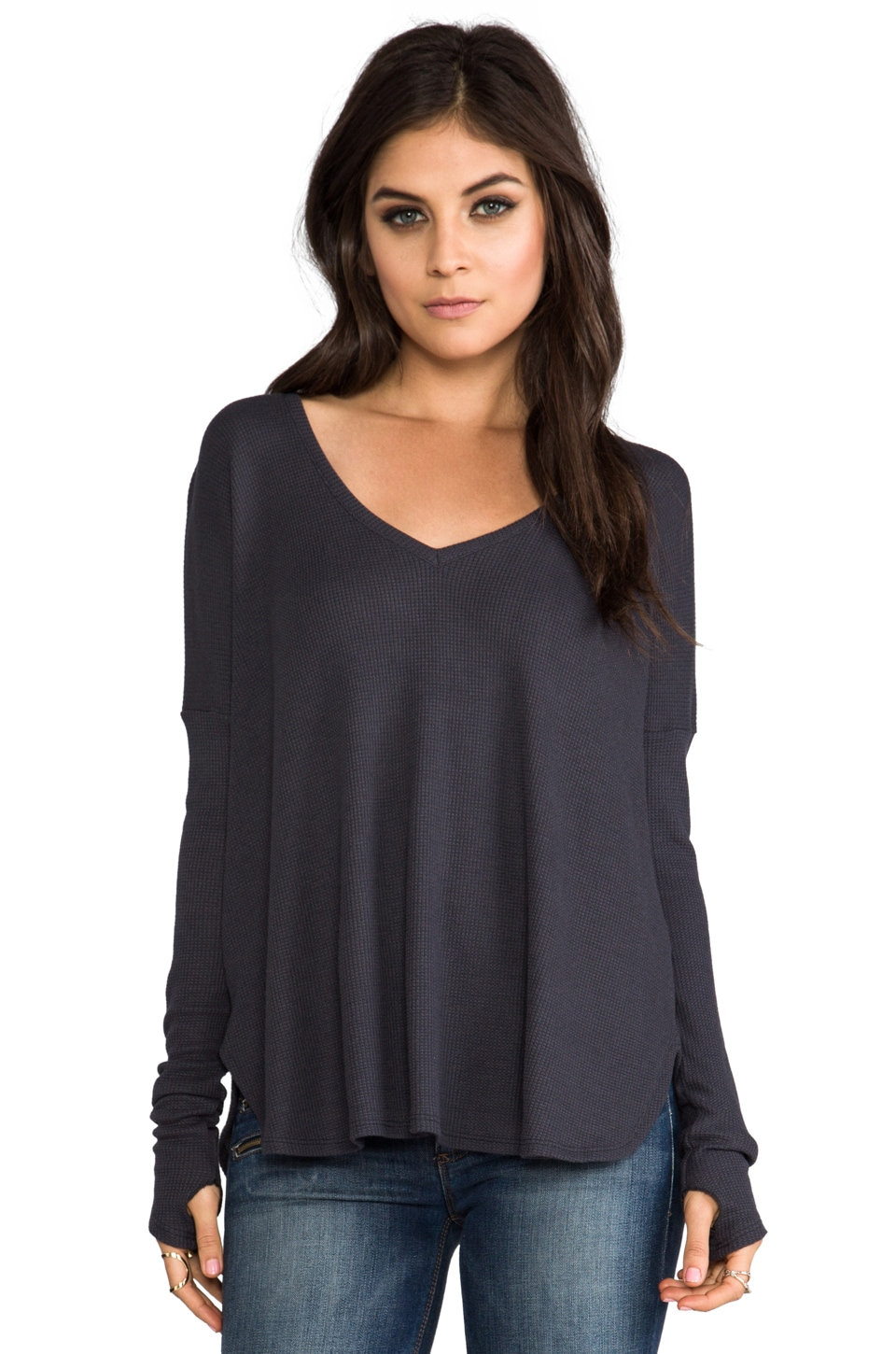 Feel the Piece Robin Thermal Top in Charcoal