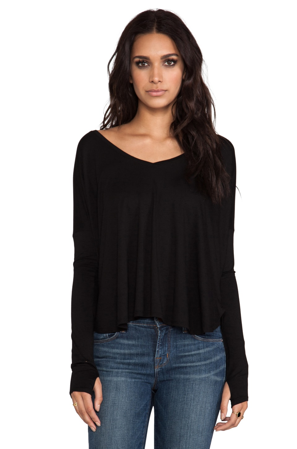 Feel the Piece Robin Thumb Hole Top in Black