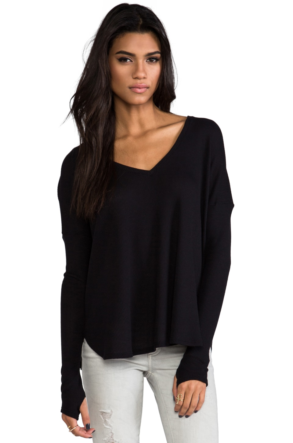 Feel the Piece Robin Thermal with Thumb Holes in Black