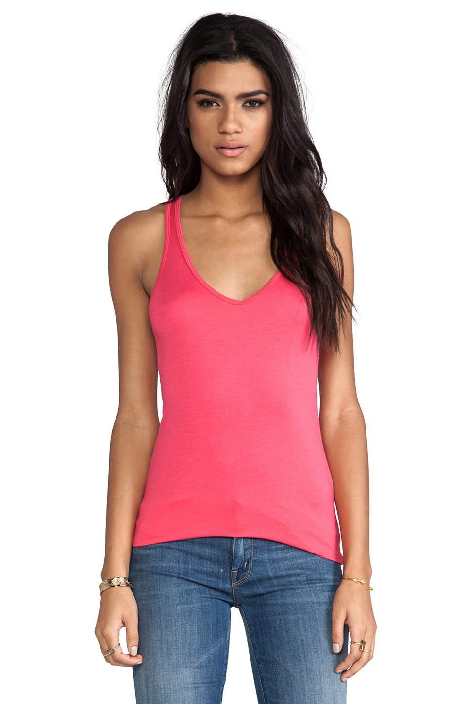 Feel the Piece Terrific V Racer Tank in Pomegranate