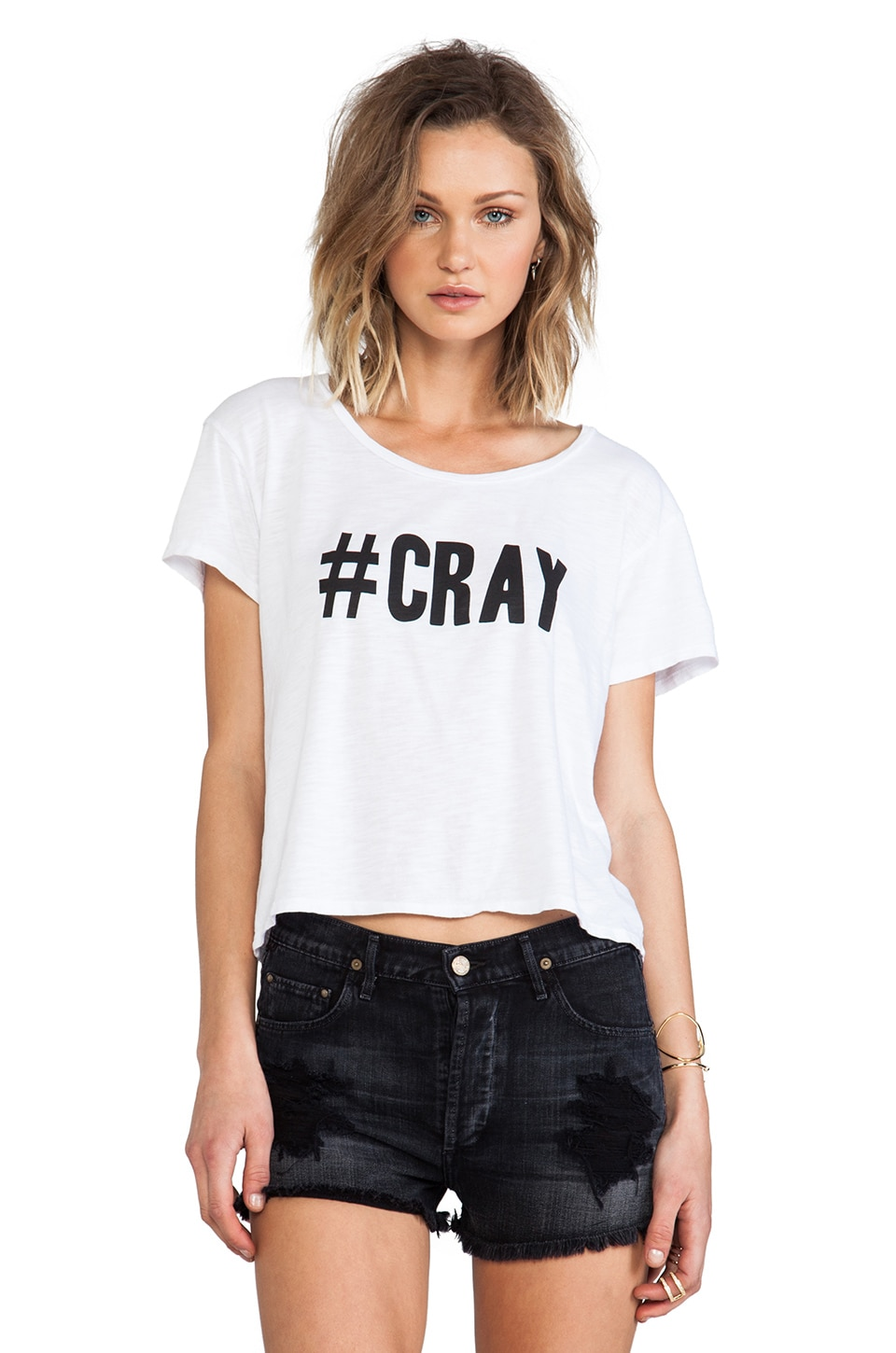 Feel the Piece x Tyler Jacobs #CRAY Crop Tee in Optic White