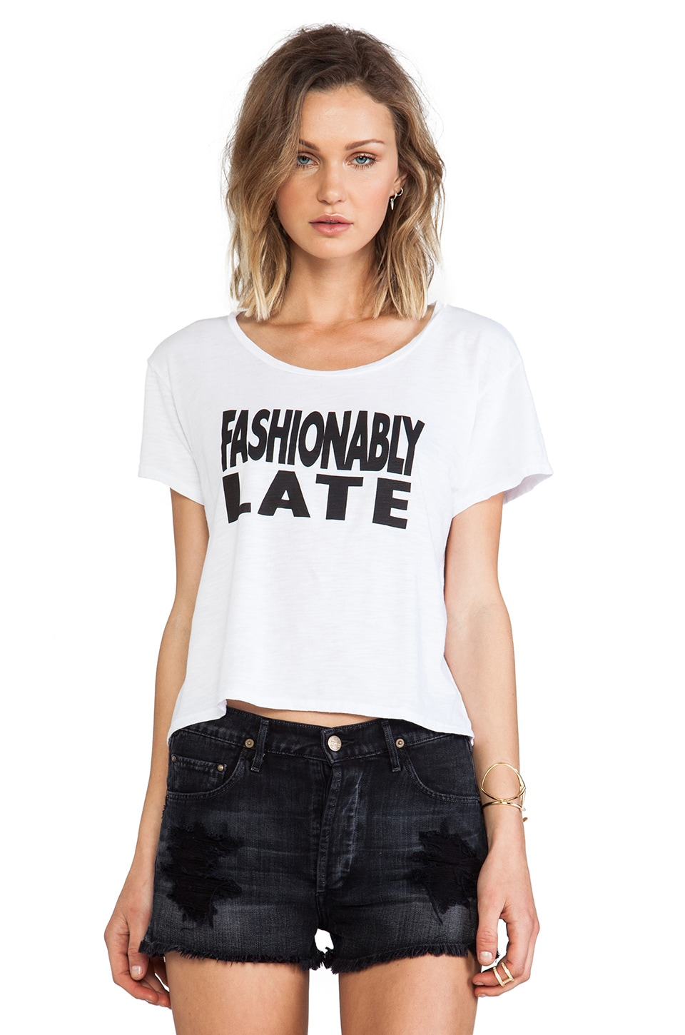 Feel the Piece x Tyler Jacobs Fashionably Late Crop Tee in Optic White