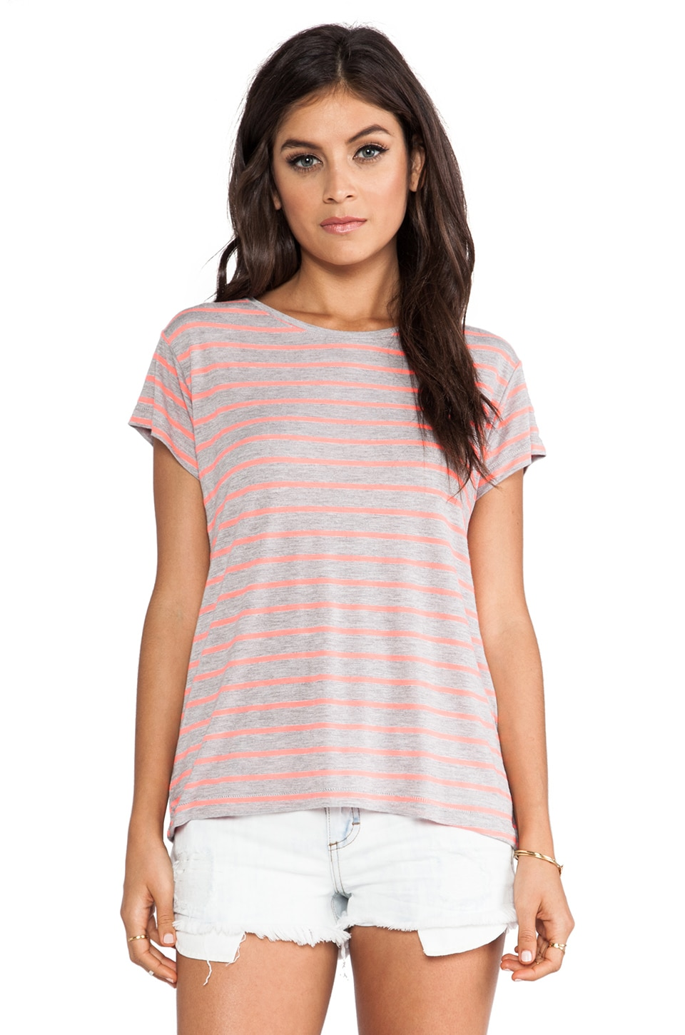 Feel the Piece Striped Champion Tee in Coral & Grey