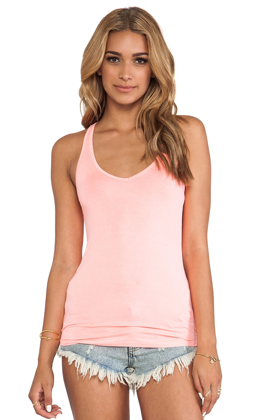 Feel the Piece Terrific V Racer Tank in Neon Coral