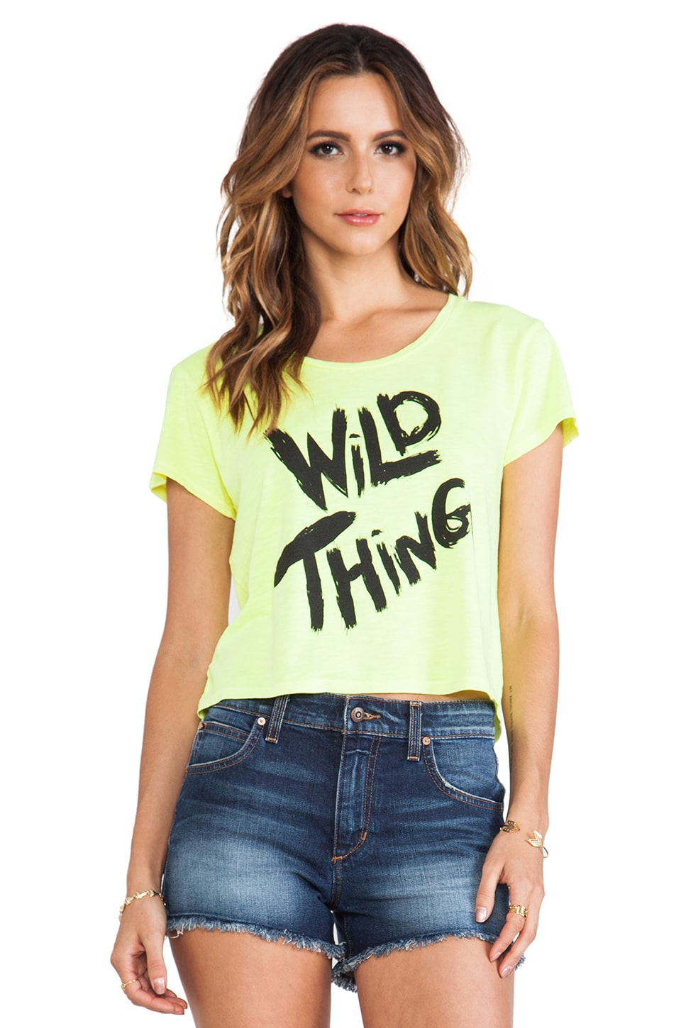 Feel the Piece x Tyler Jacobs Wild Thing Crop Tee in Neon Yellow