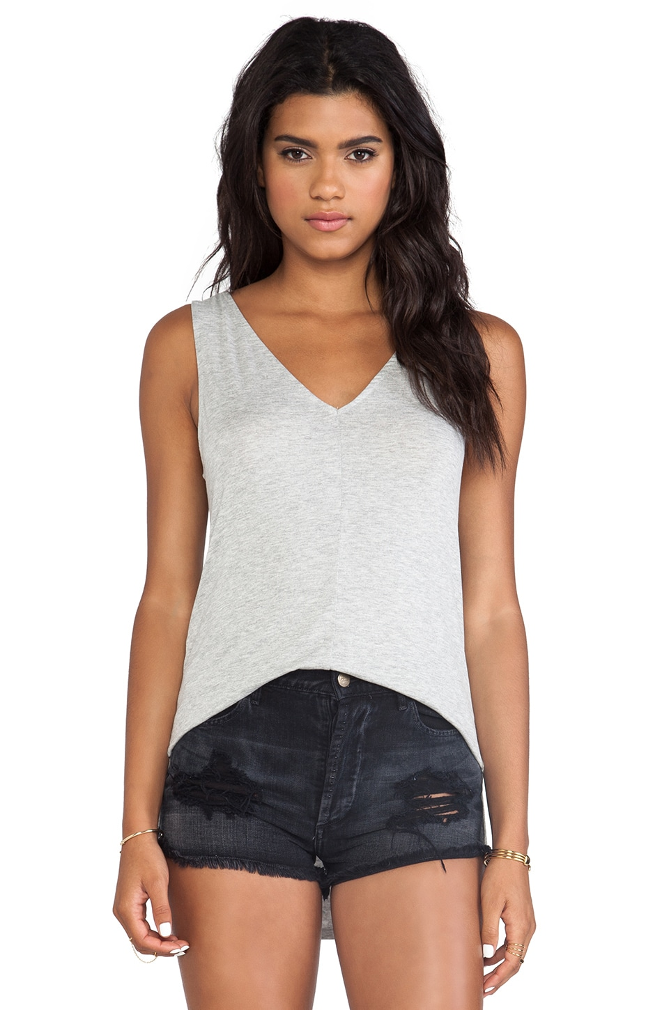 Feel the Piece Lin V-Neck Tank in Heather Grey