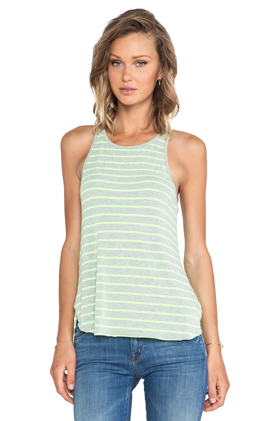Feel the Piece Robby Tank in After Glow & Heather Grey Stripe