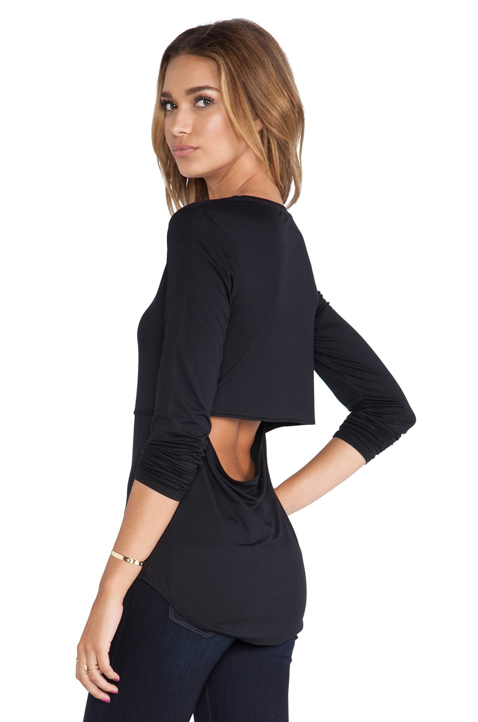 Feel the Piece Jolee Long Sleeve Tee in Black