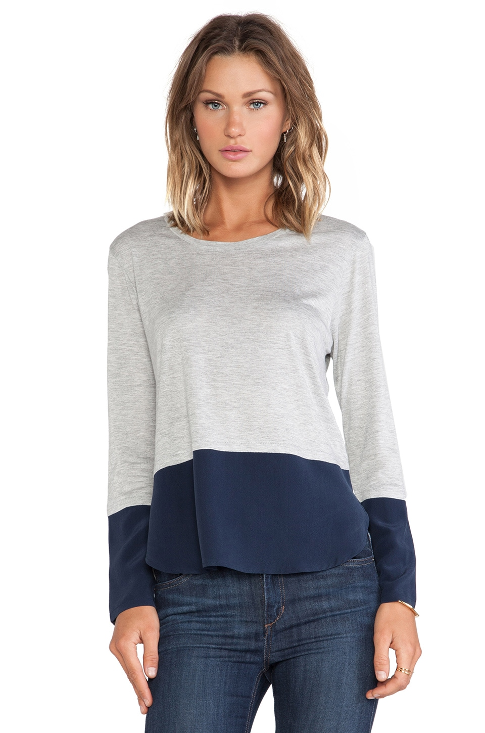 Feel the Piece Aline Top in Navy & Heather Grey
