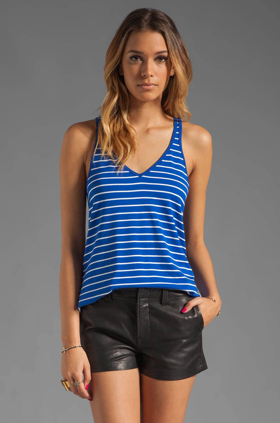 Feel the Piece V Neck Layering Tank in Cobalt/White