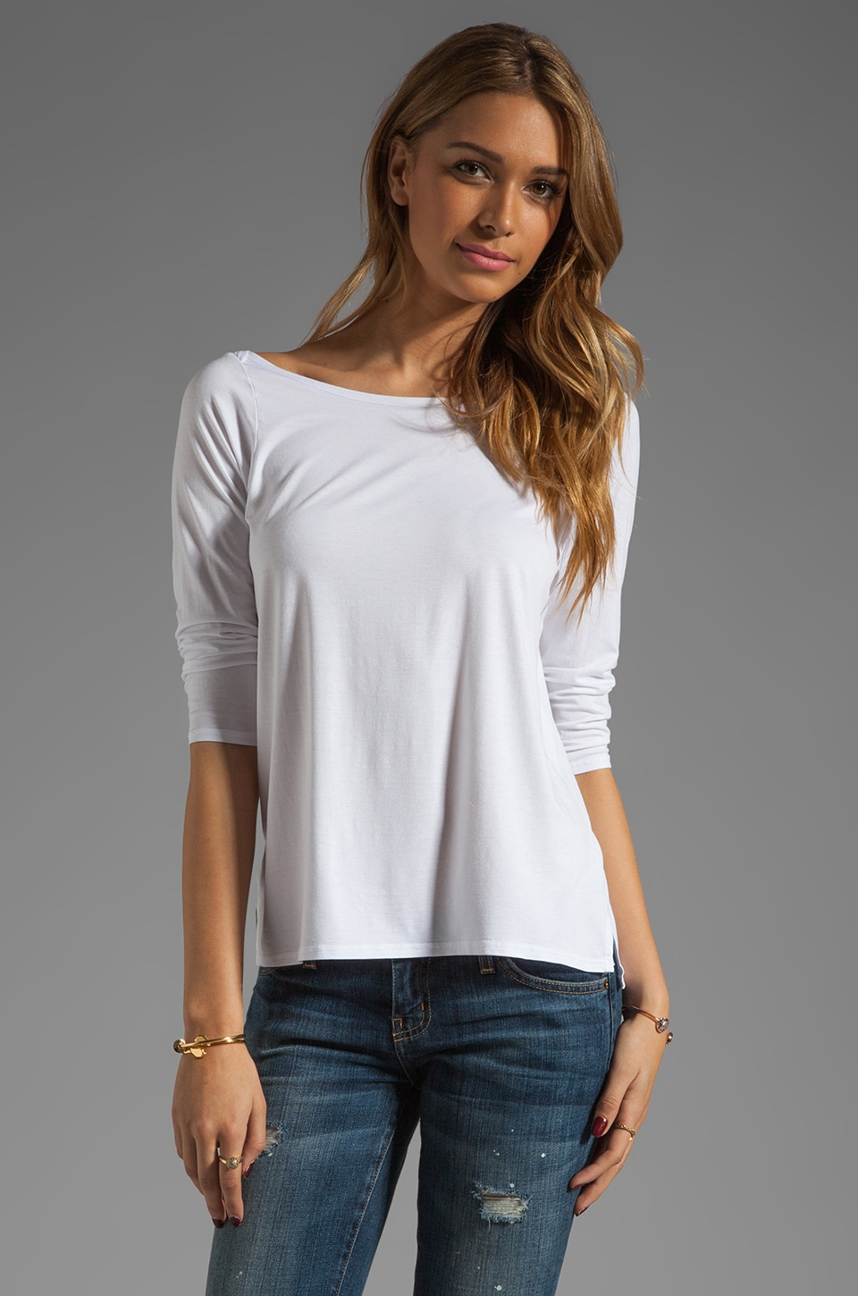 Feel the Piece Frenchie Boat Neck Top in White